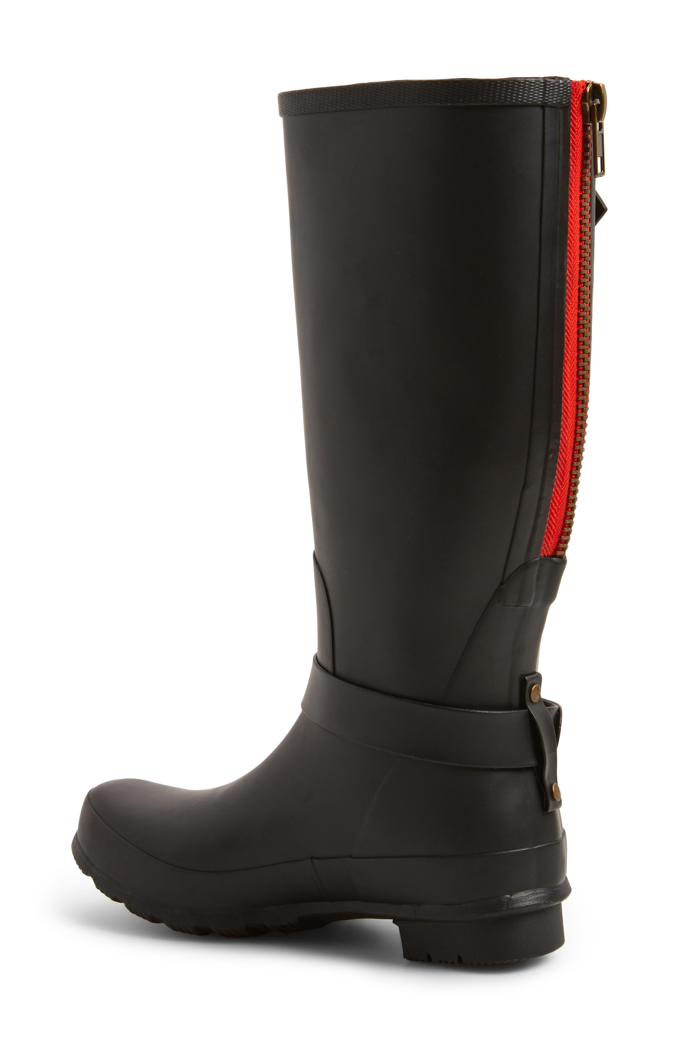 Biker Knee High Rain Boot,                             Alternate thumbnail 2, color,                             Black