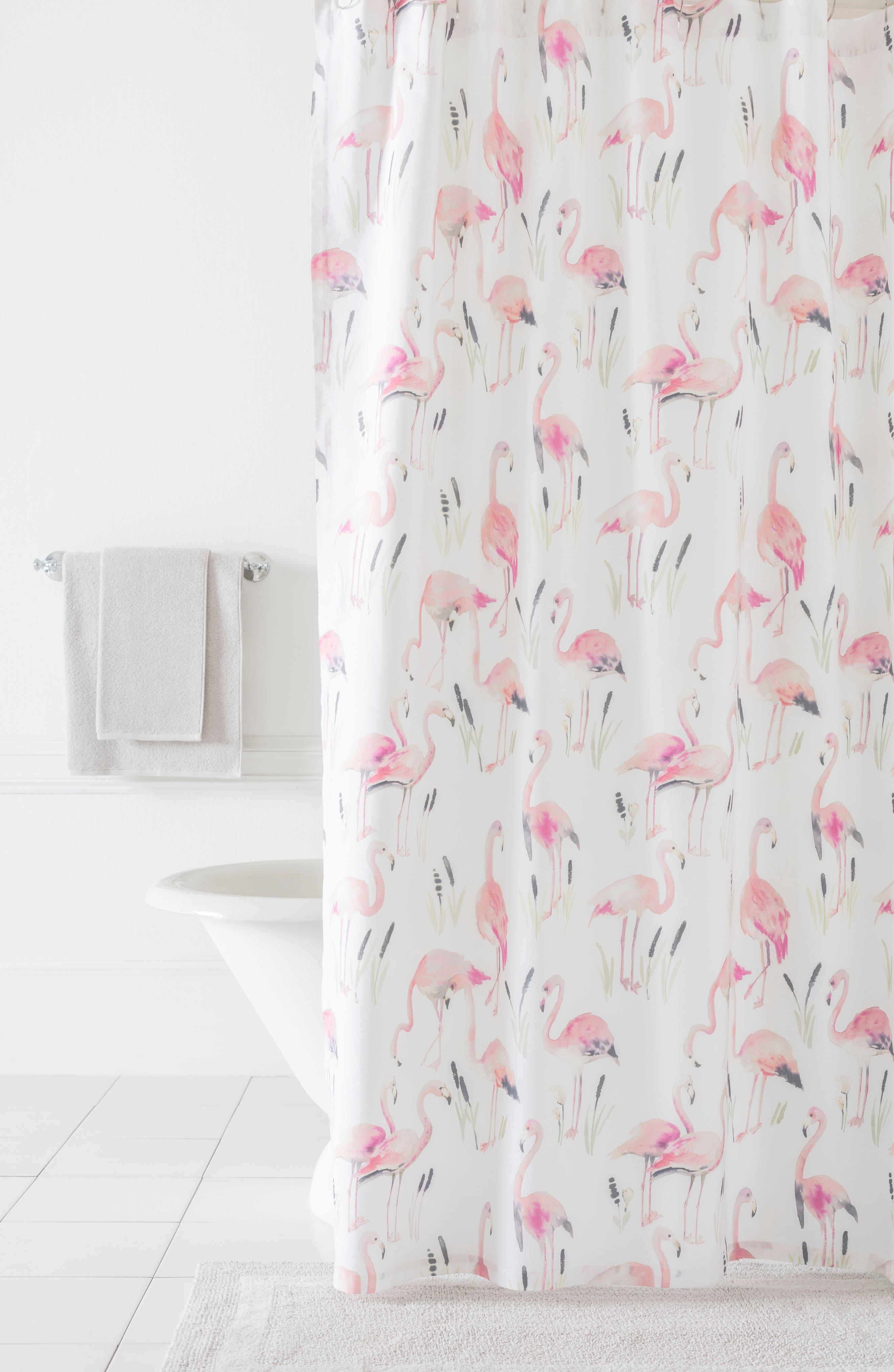 Flamingos Shower Curtain,                         Main,                         color, Pink