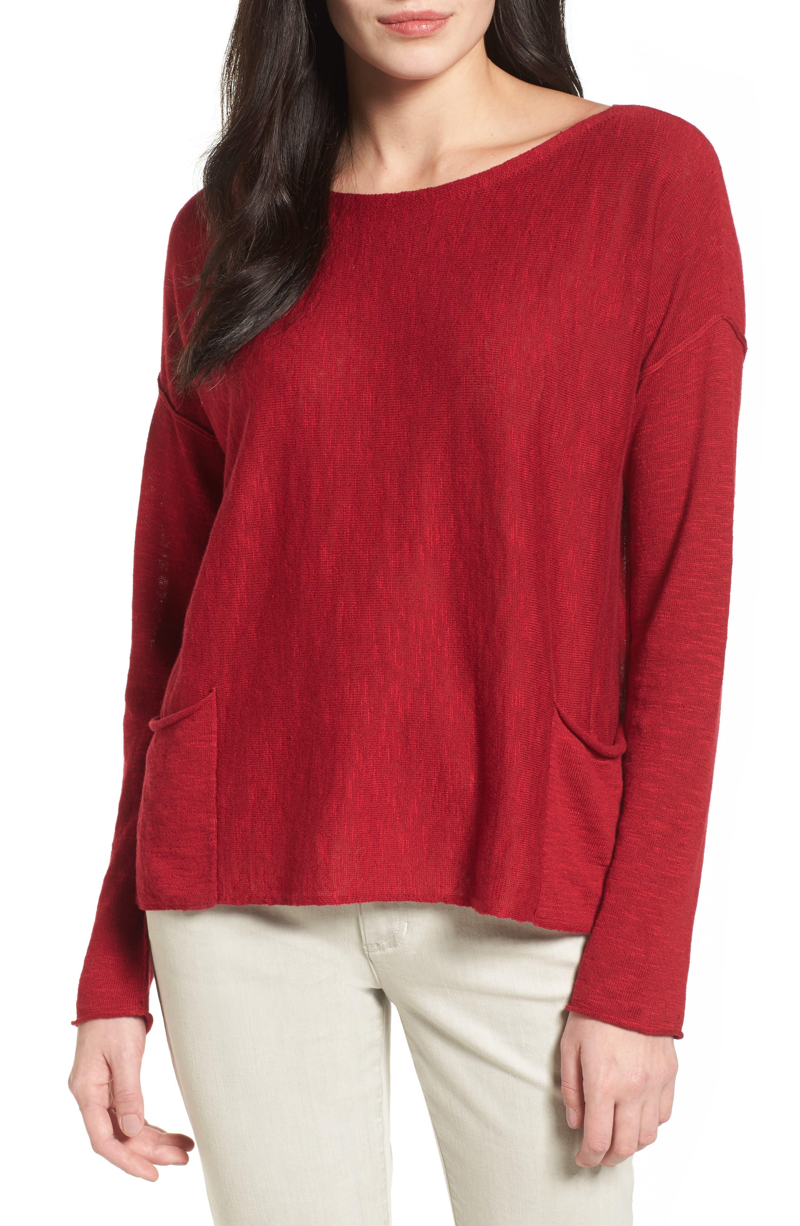 Eileen Fisher Organic Linen & Cotton Knit Boxy Top