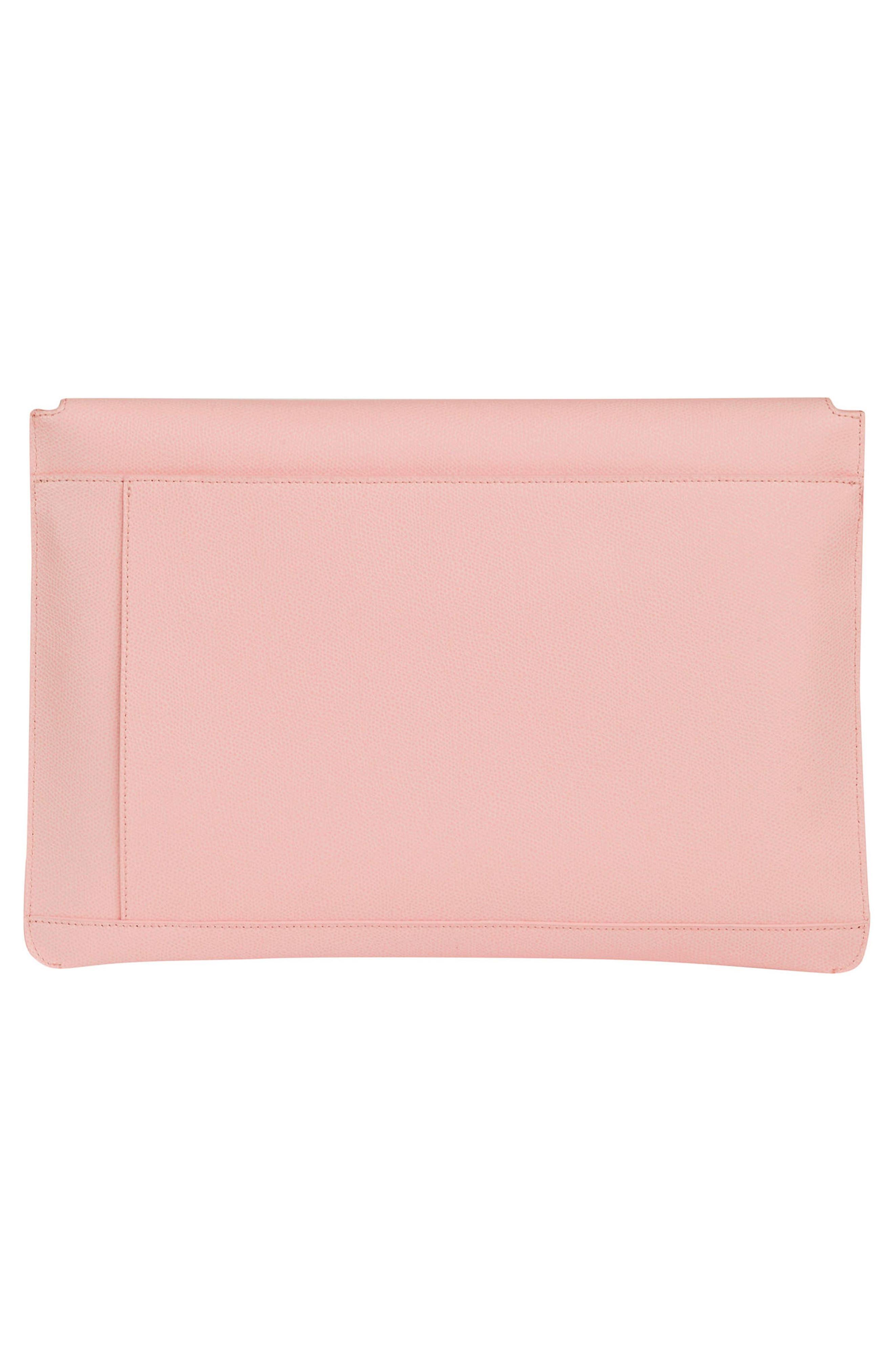 Pebbled Leather Envelope Clutch,                             Alternate thumbnail 2, color,                             Blush