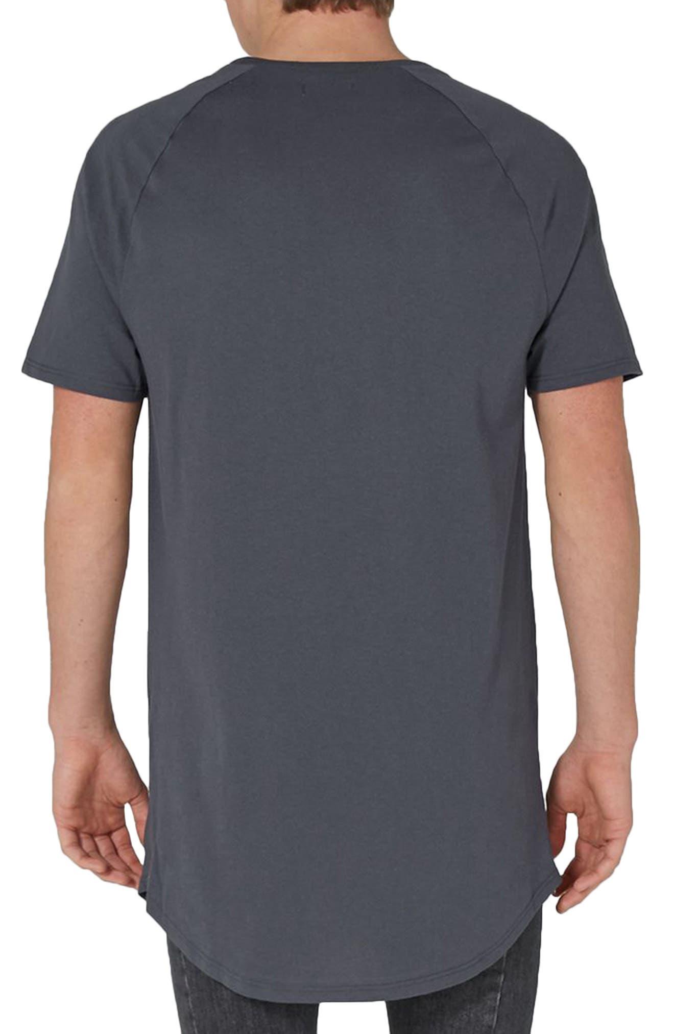 Side Zip Longline T-Shirt,                             Alternate thumbnail 2, color,                             Grey