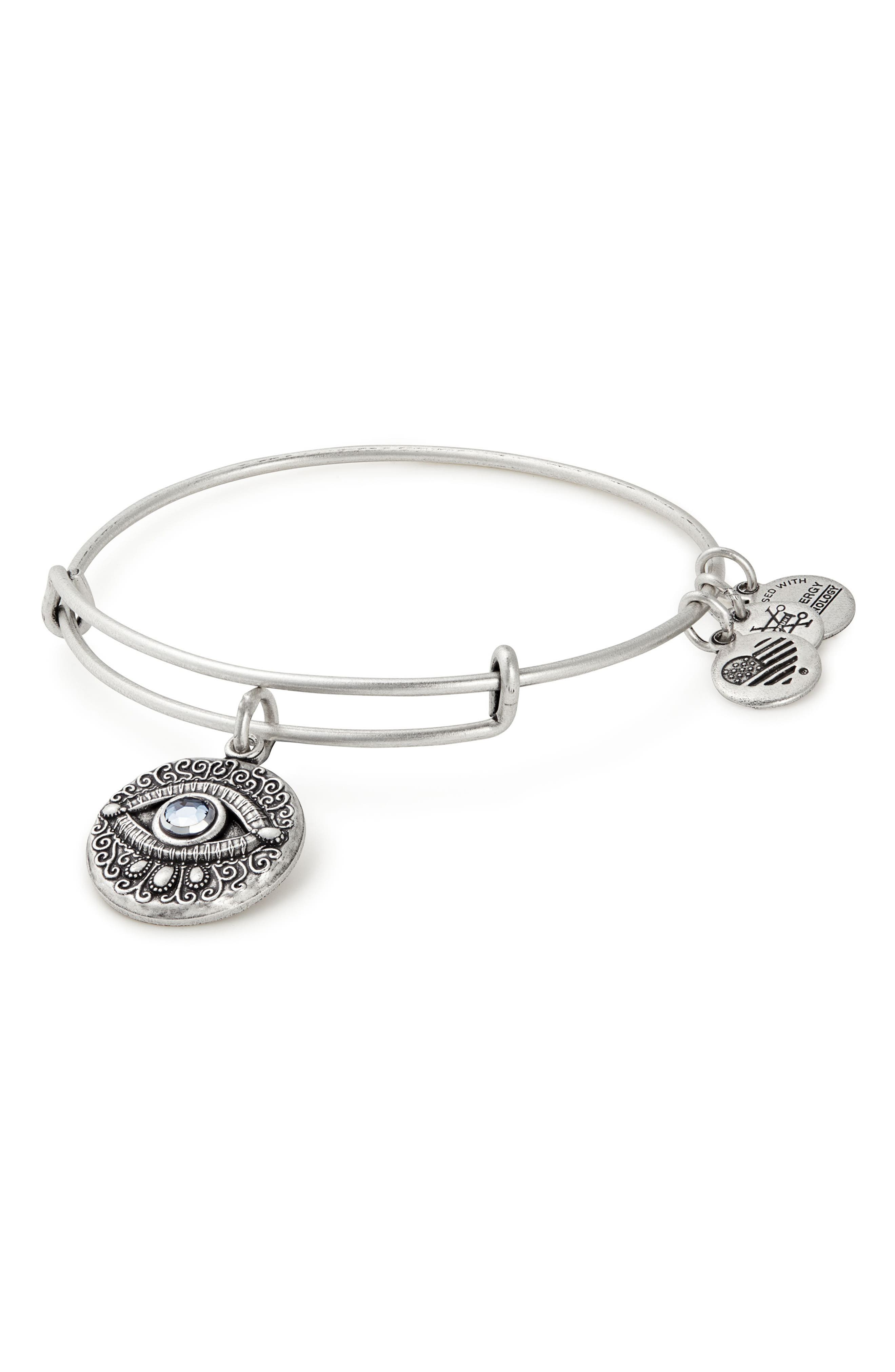 Evil Eye Adjustable Wire Bangle,                             Main thumbnail 1, color,                             Silver