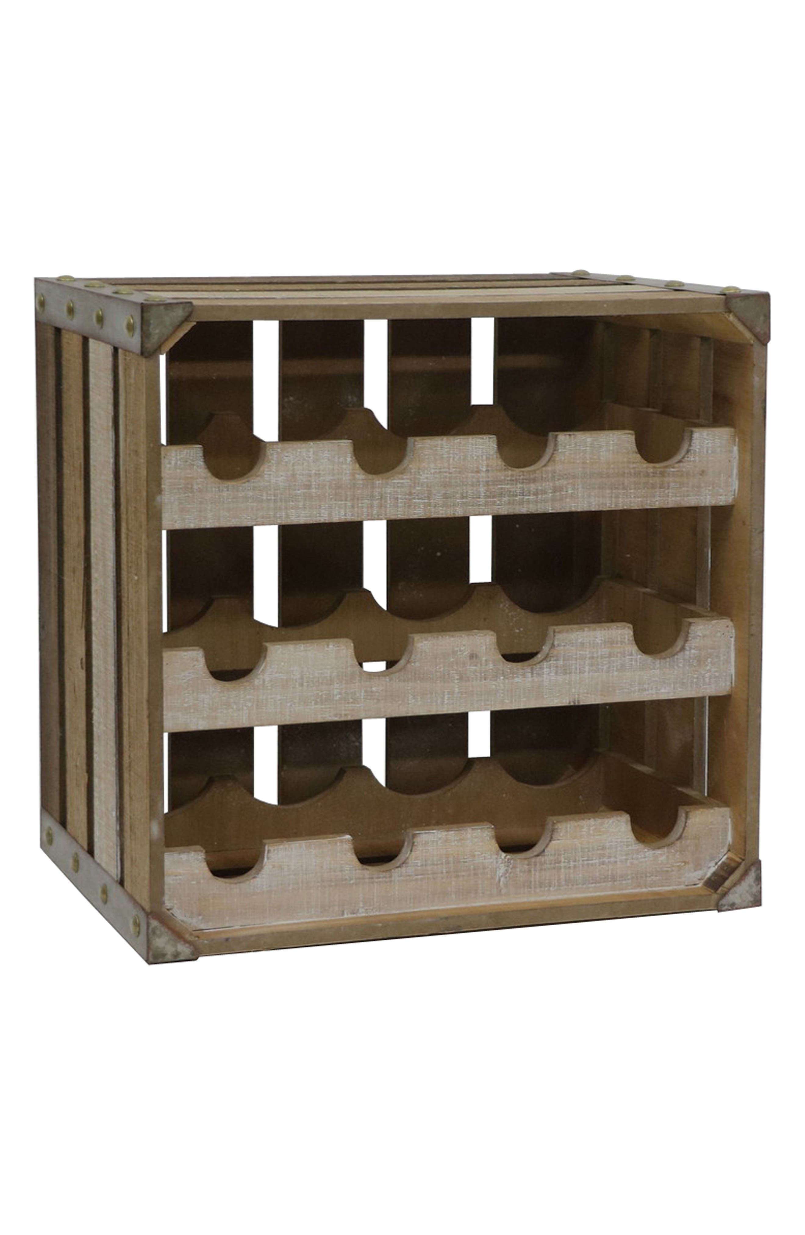 Wooden Wine Crate,                             Main thumbnail 1, color,                             Brown
