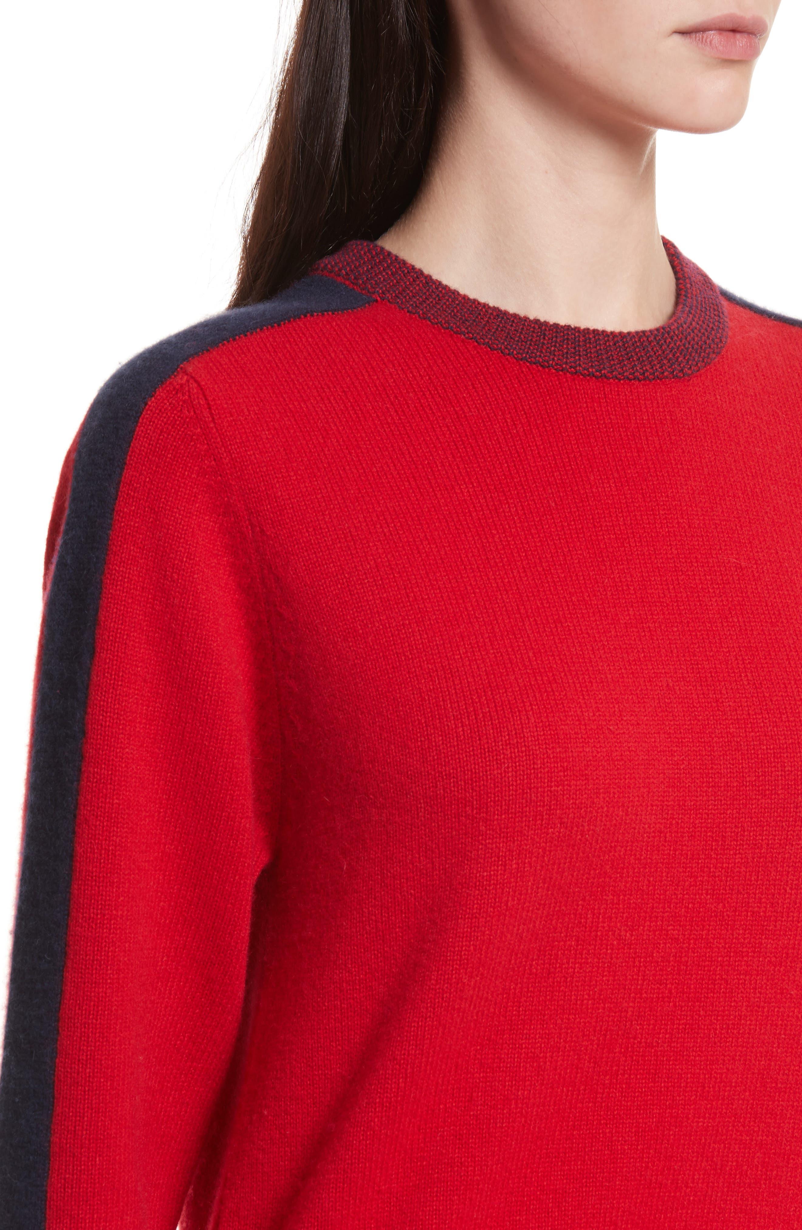 Alternate Image 4  - Allude Bold Stripe Cashmere Sweater