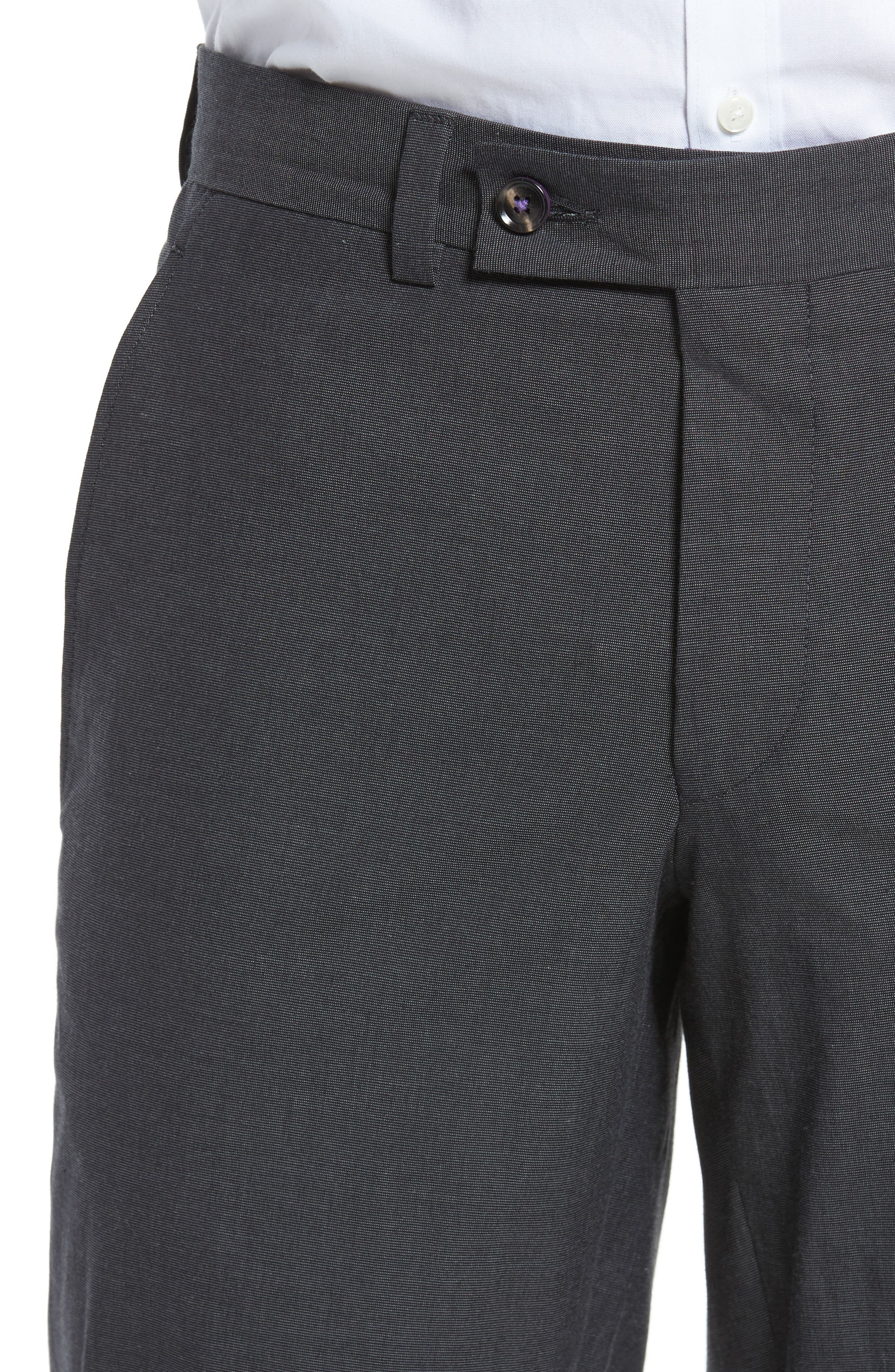 Jerome Flat Front Stretch Solid Cotton Trousers,                             Alternate thumbnail 4, color,                             Charcoal