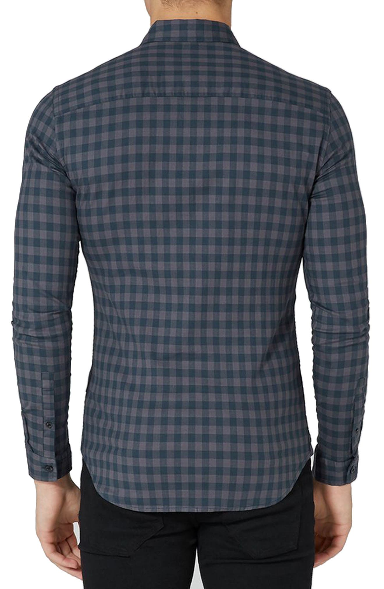 Alternate Image 2  - Topman Muscle Fit Gingham Shirt