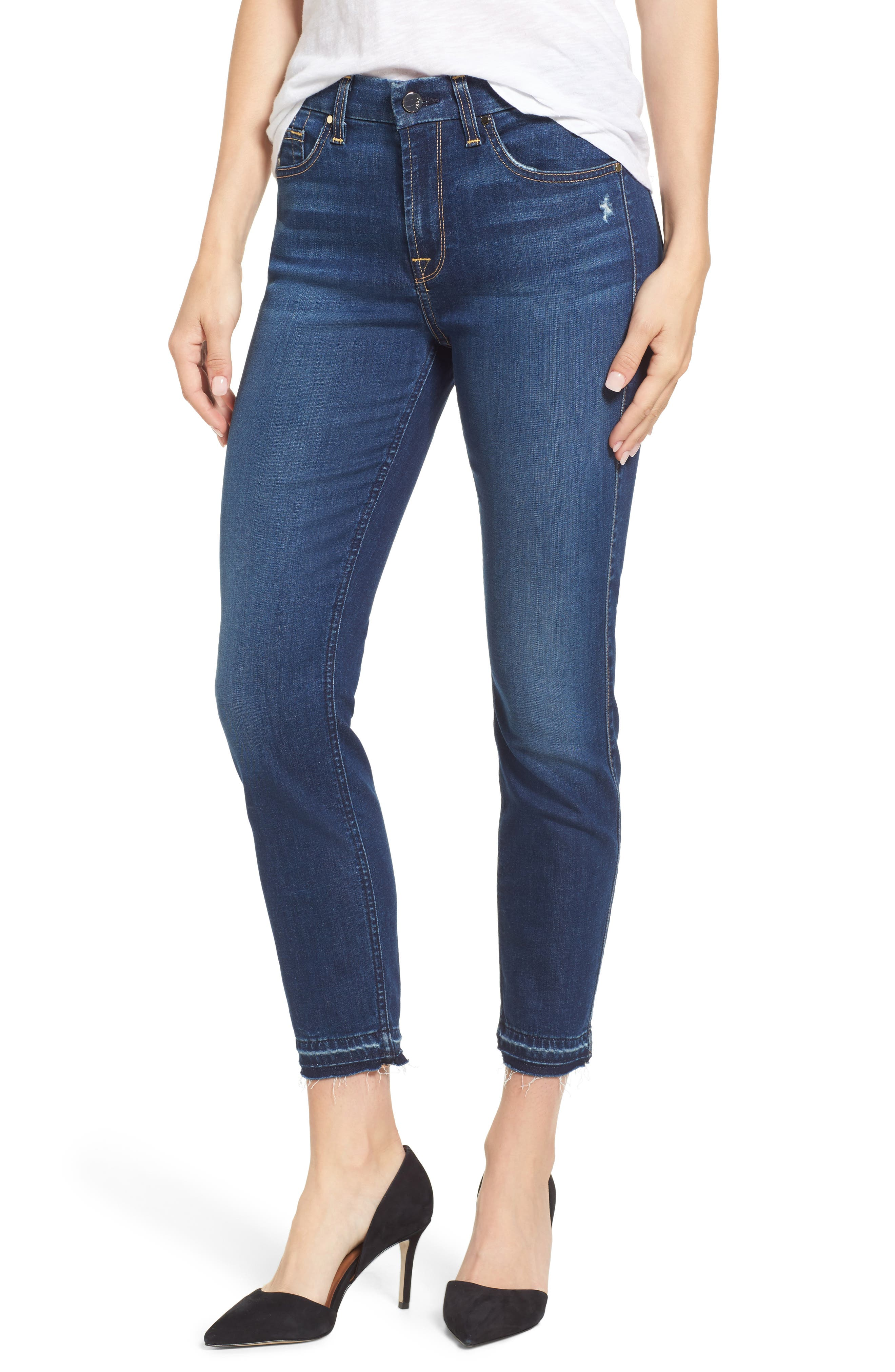 Release Hem Skinny Ankle Jeans,                             Main thumbnail 1, color,                             Riche Touch Medium Blue