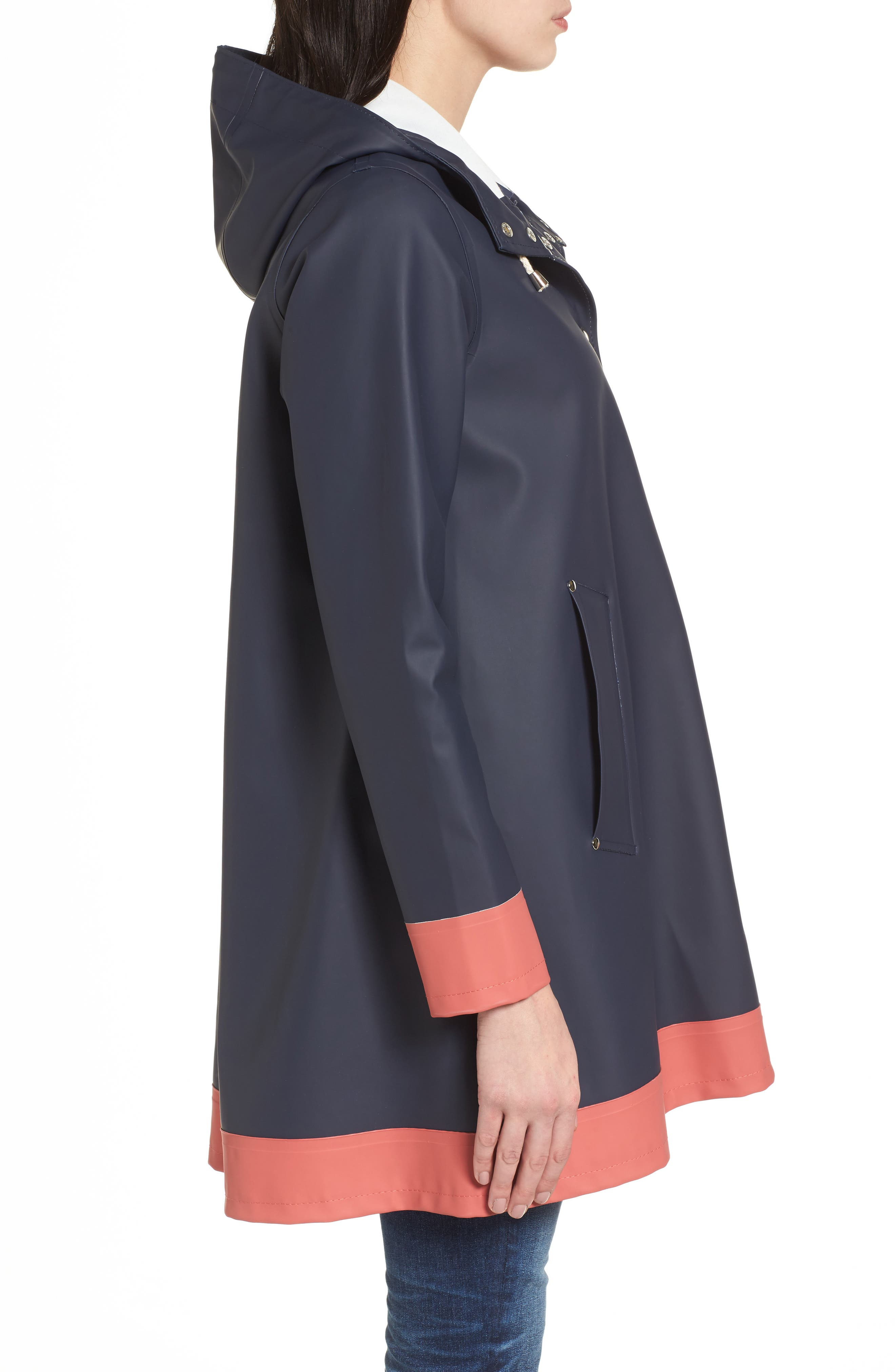 Mosebacke Frame Colorblock Raincoat,                             Alternate thumbnail 3, color,                             Navy/ Faded Rose