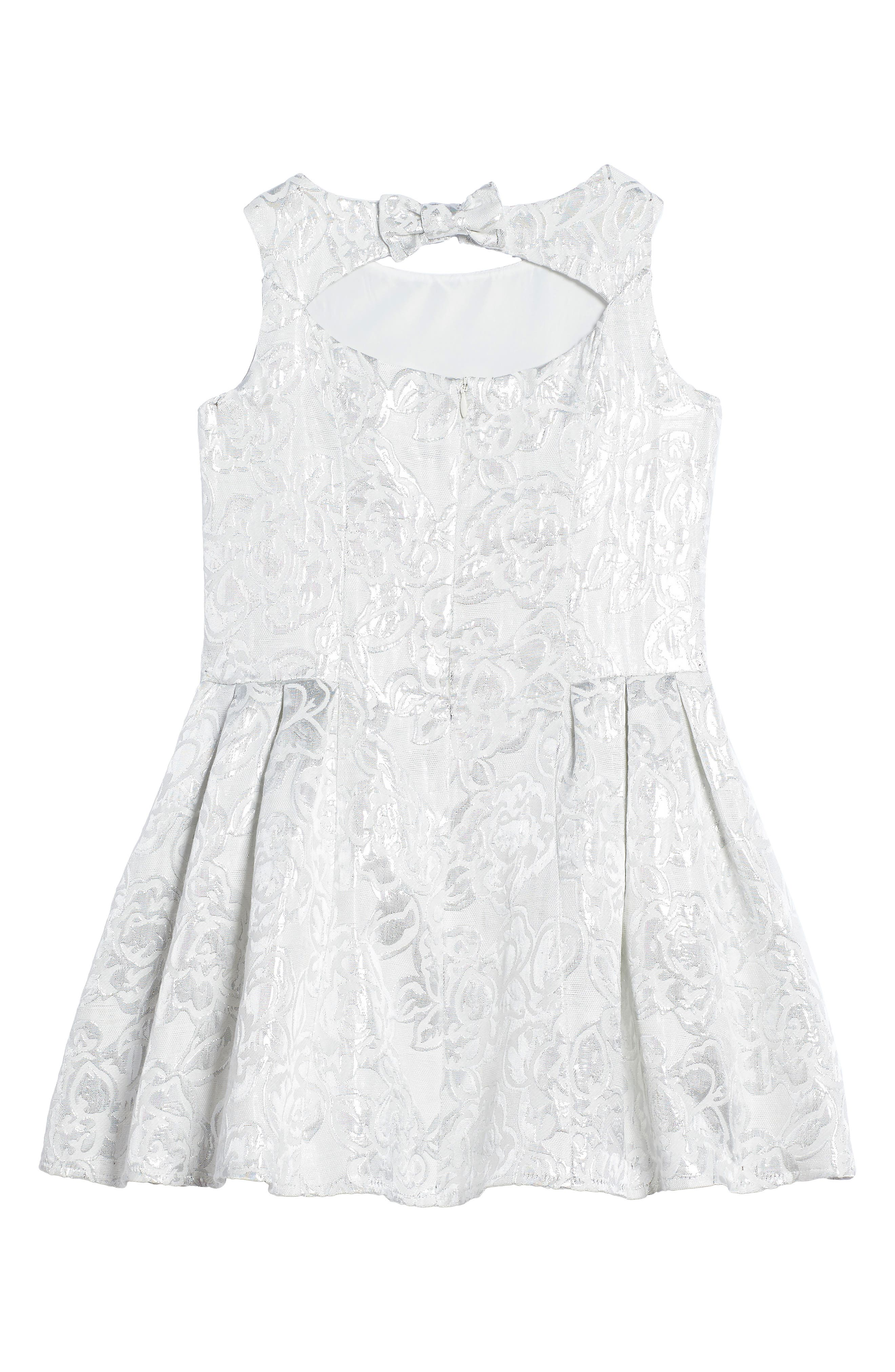 Princess Embroidered Dress,                             Alternate thumbnail 2, color,                             Silver