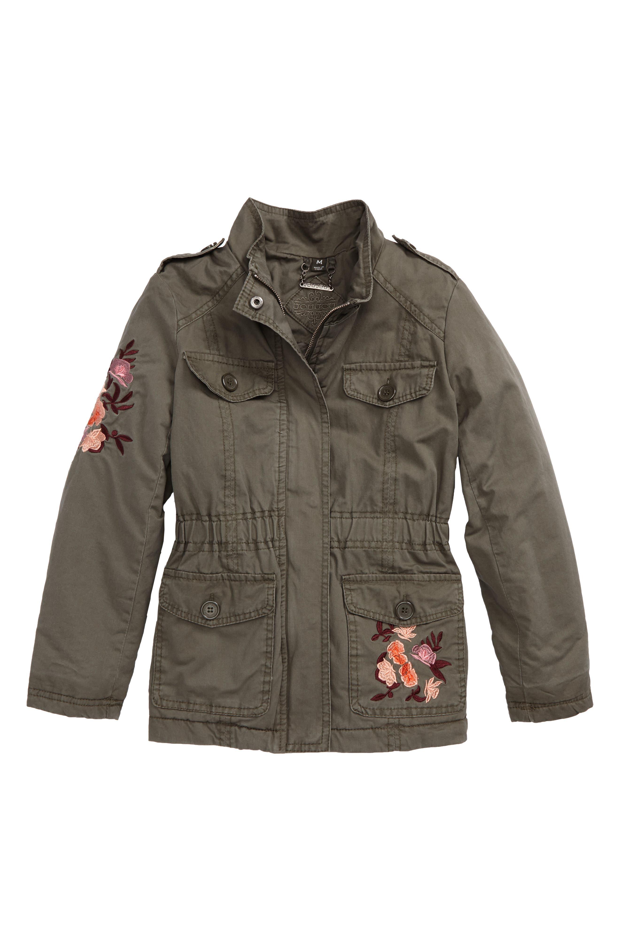 Alternate Image 1 Selected - Jou Jou Embroidered Utility Jacket (Big Girls)