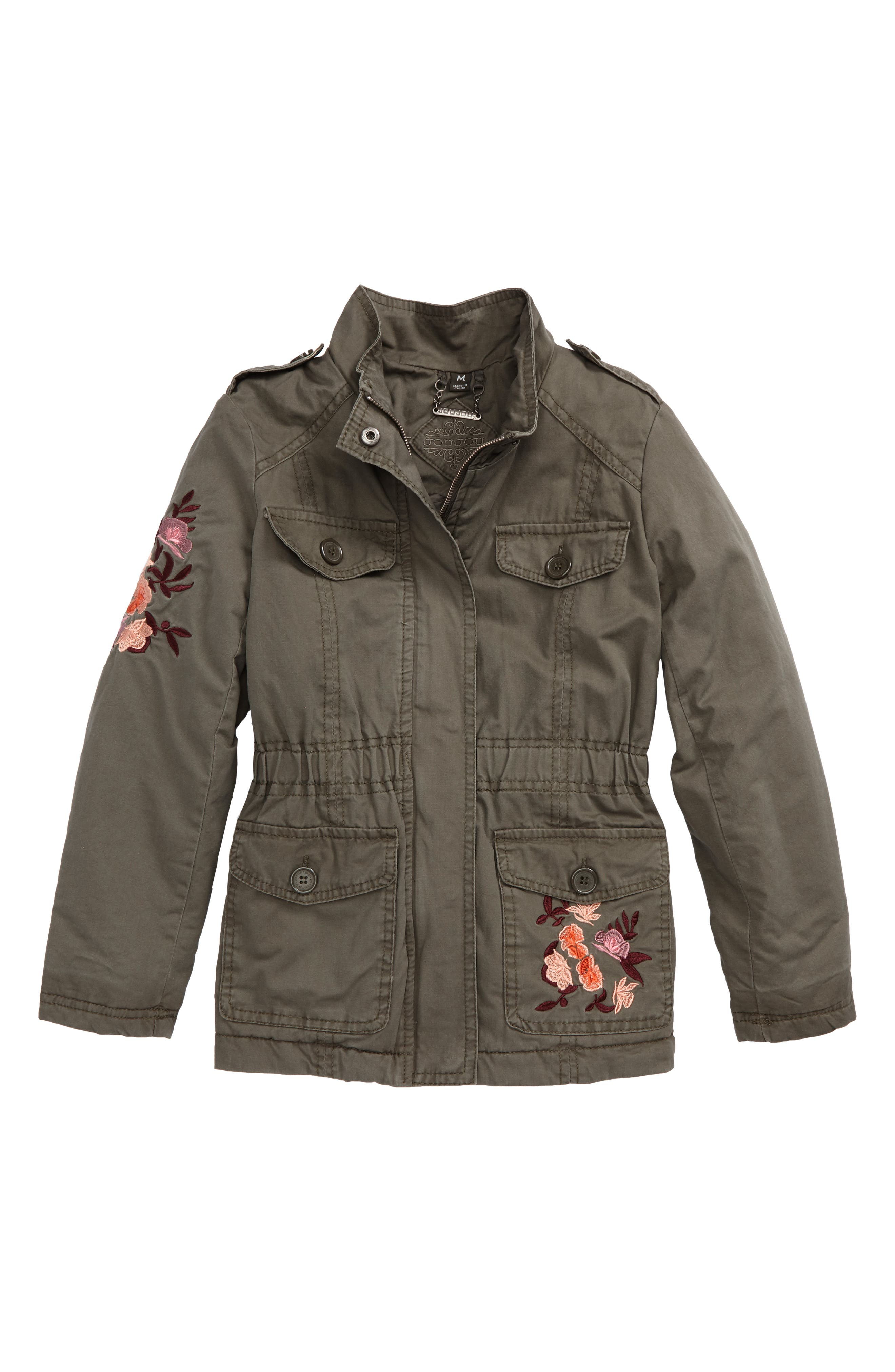 Embroidered Utility Jacket,                         Main,                         color, Olive