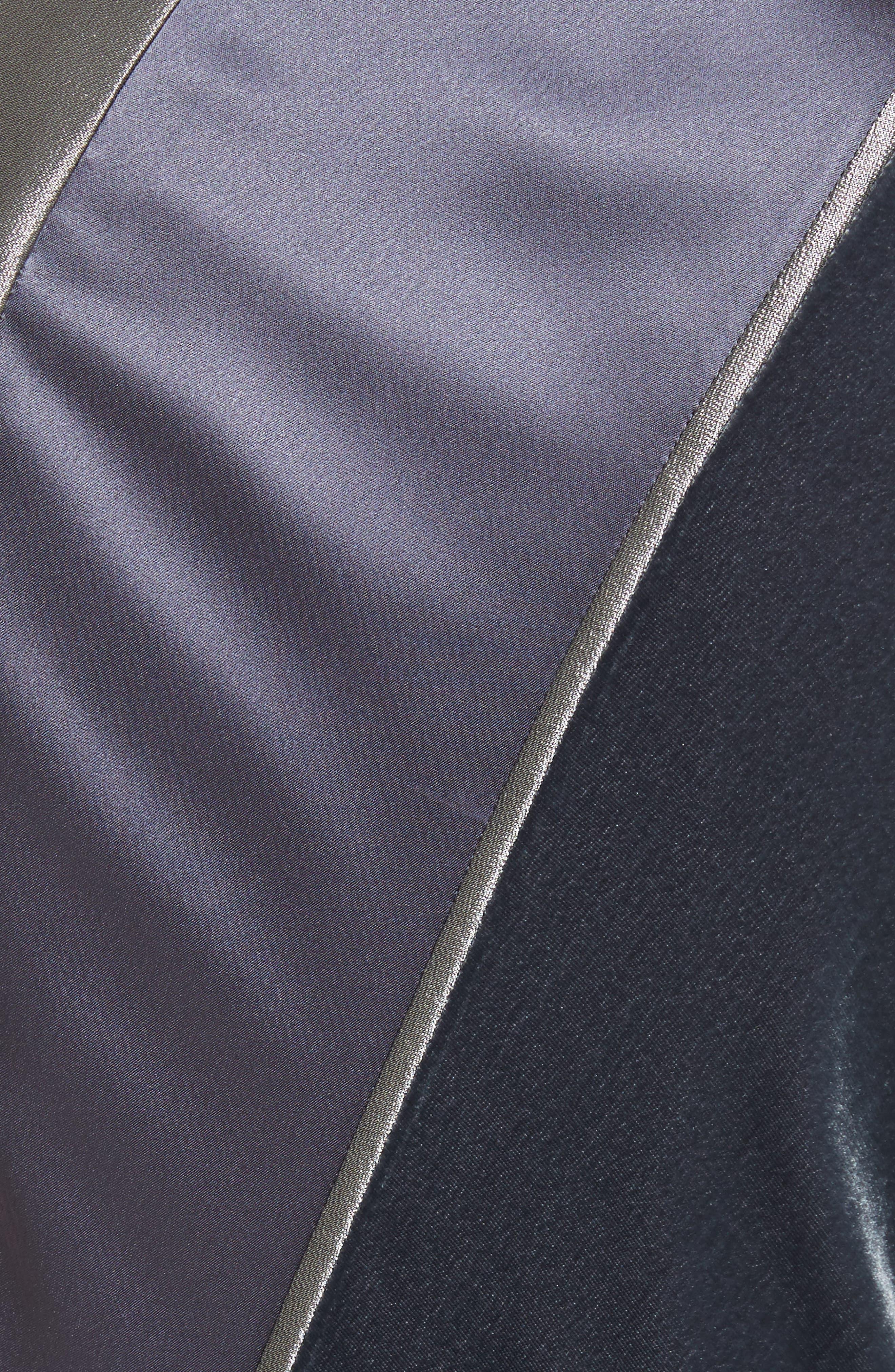Madelia Velvet & Satin Midi Dress,                             Alternate thumbnail 5, color,                             Admiral Blue