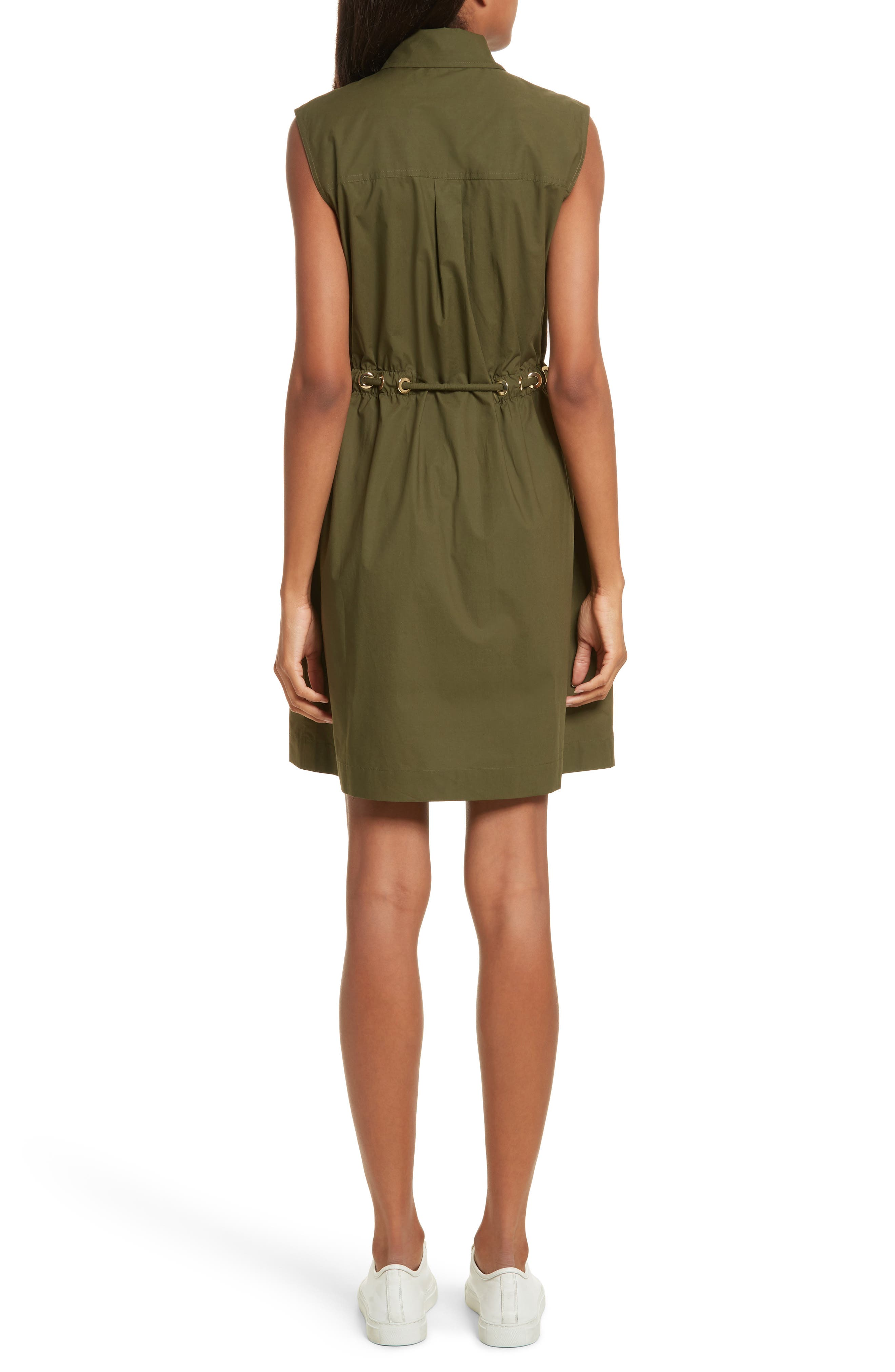 Zip Front Tunic Dress,                             Alternate thumbnail 2, color,                             Army Green