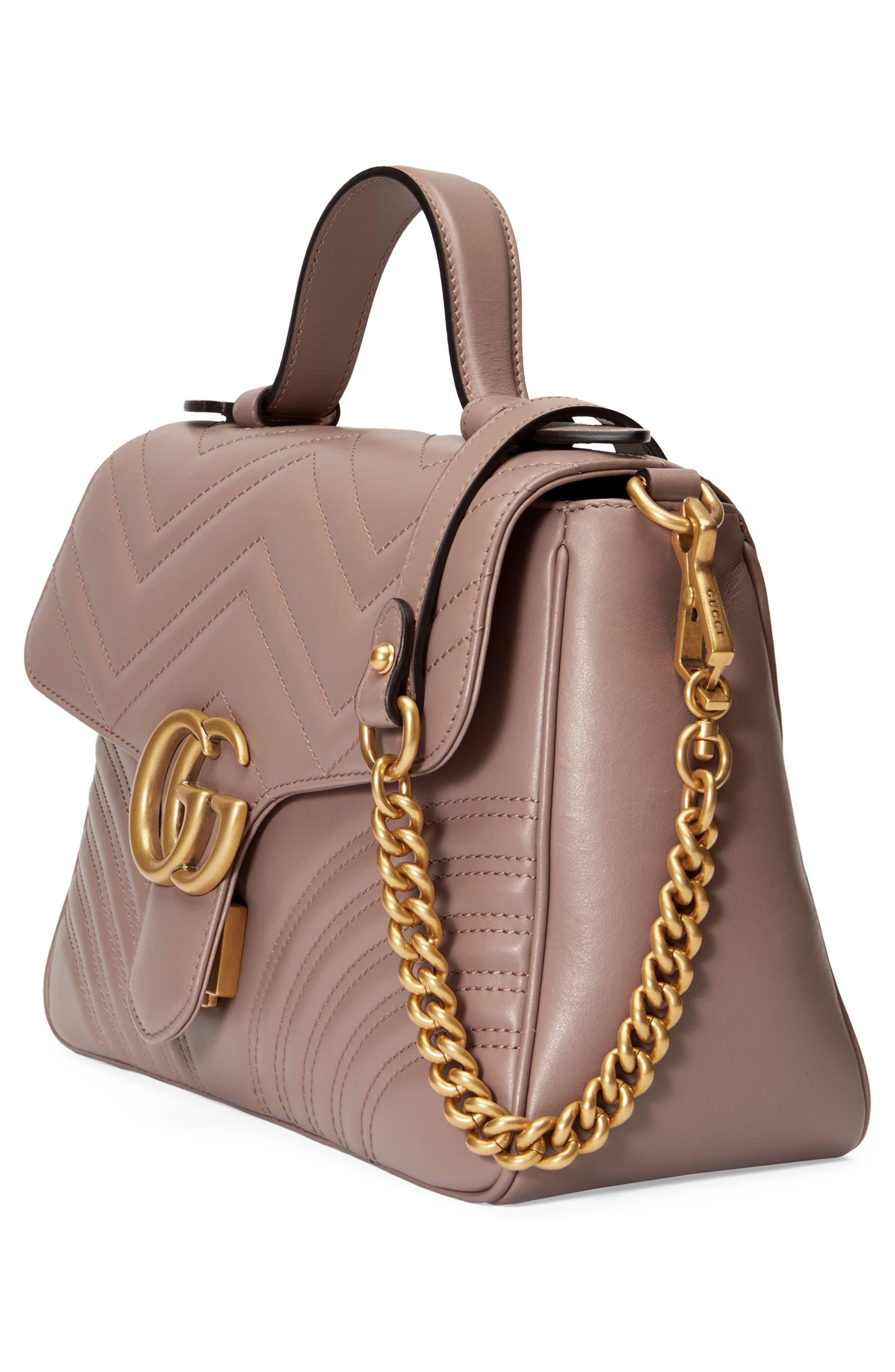 Small GG Marmont 2.0 Matelassé Leather Top Handle Bag,                             Alternate thumbnail 3, color,                             Porcelain Rose