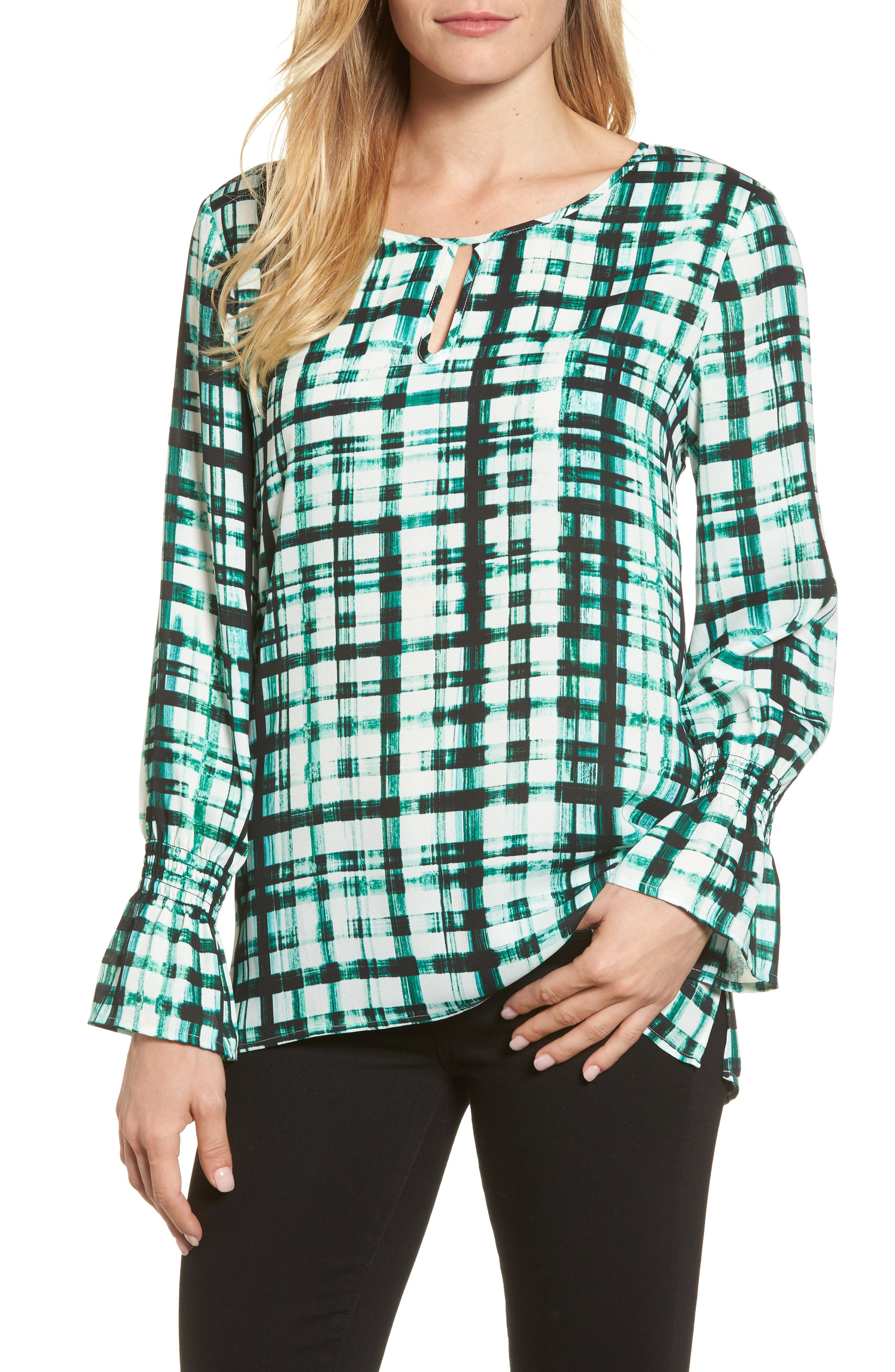 Plaid Ruffle Sleeve Blouse,                         Main,                         color, Bright Amazon