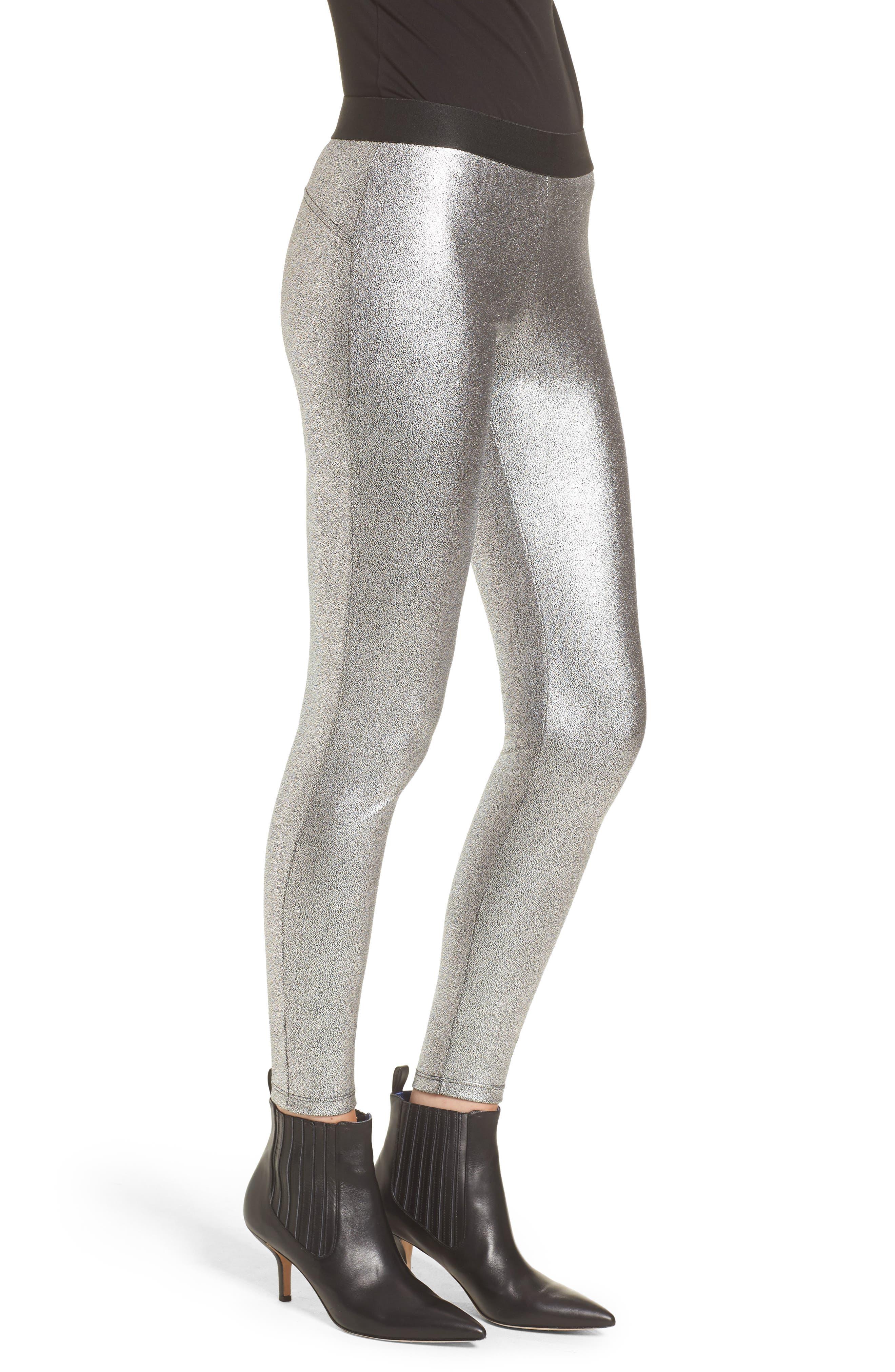 Metallic Leggings,                             Alternate thumbnail 3, color,                             Silver