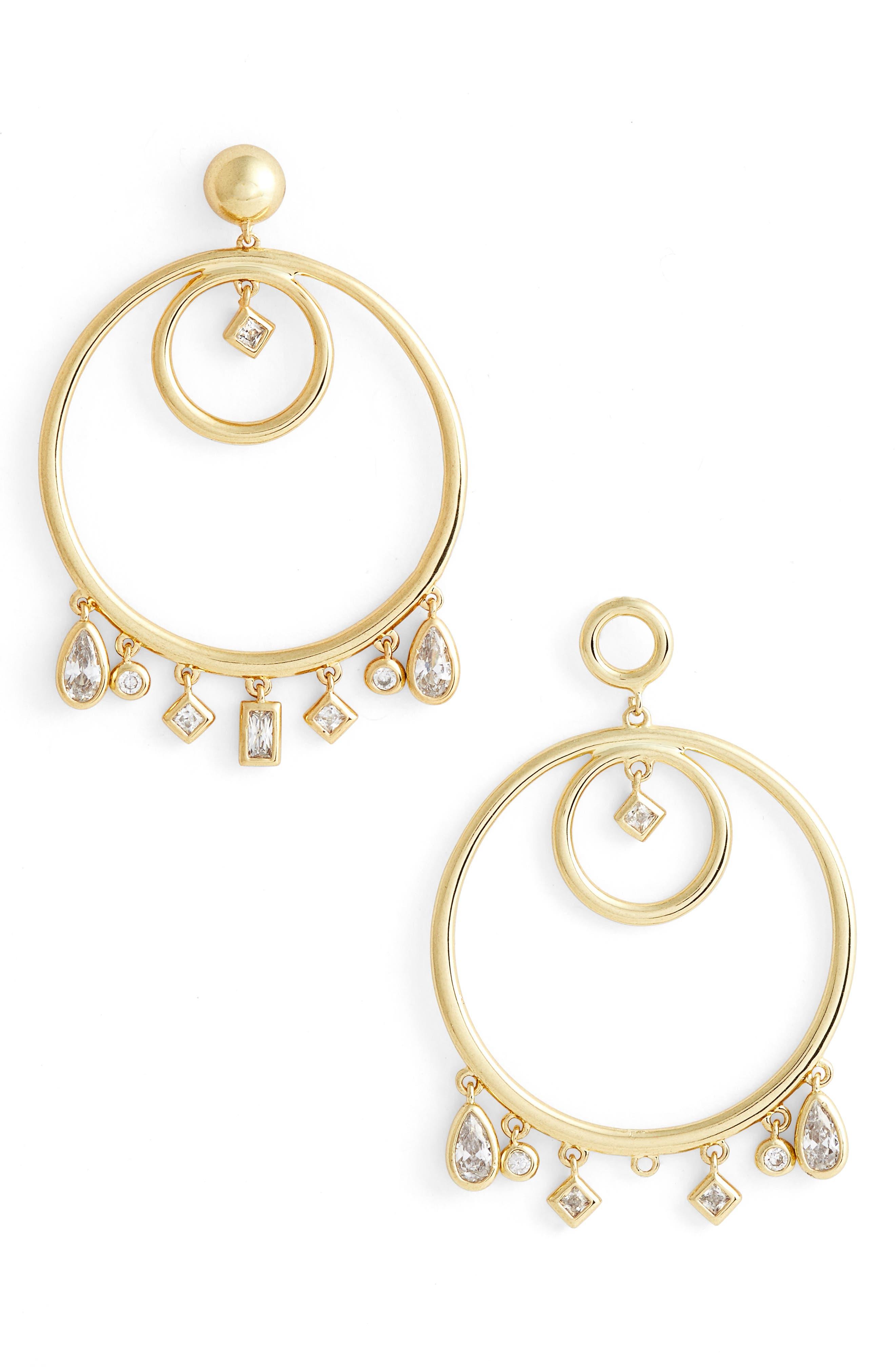 Main Image - Luv AJ Hanging Jewel Frontal Hoop Earrings