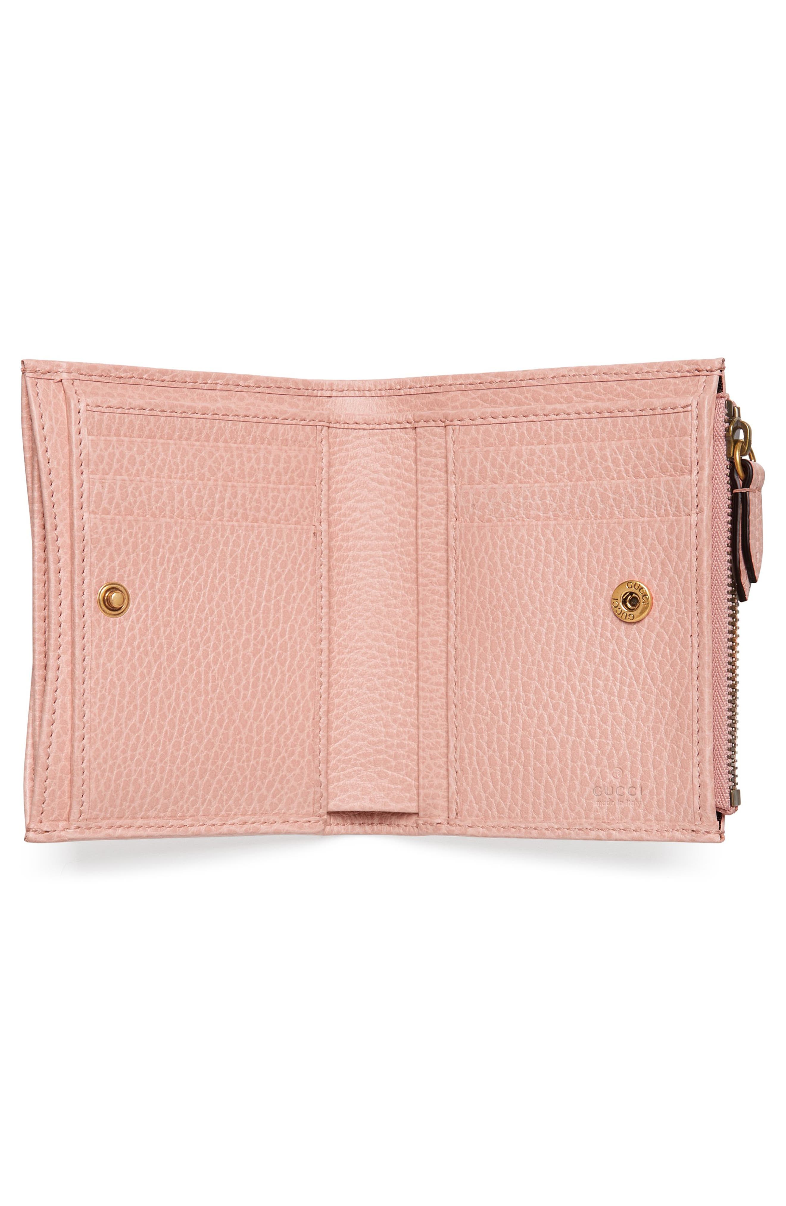 Farfalla Leather Wallet,                             Alternate thumbnail 4, color,                             Perfect Pink/ Crystal