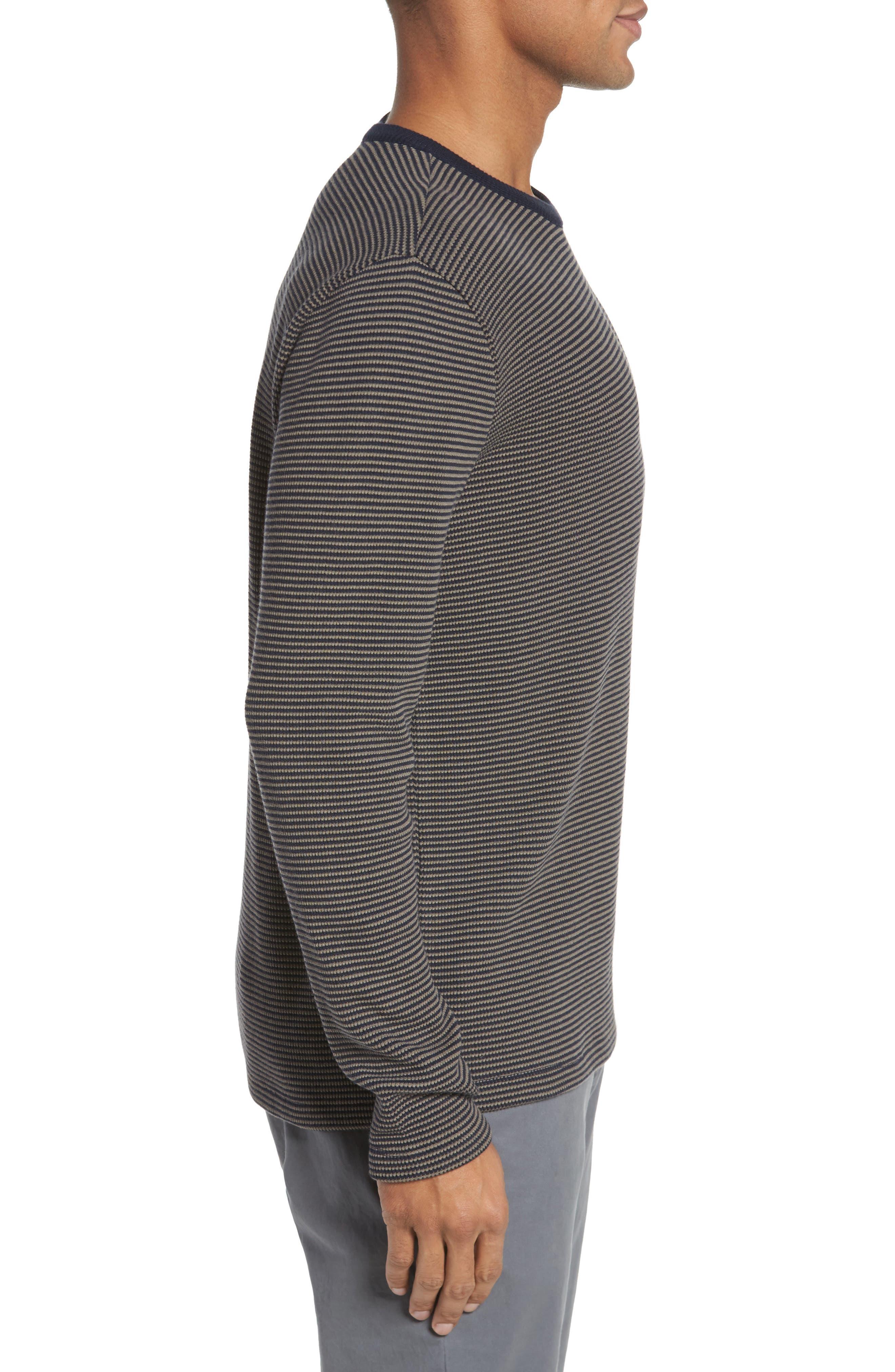 Slim Fit Waffle Knit T-Shirt,                             Alternate thumbnail 3, color,                             Oak/ Stormy Night