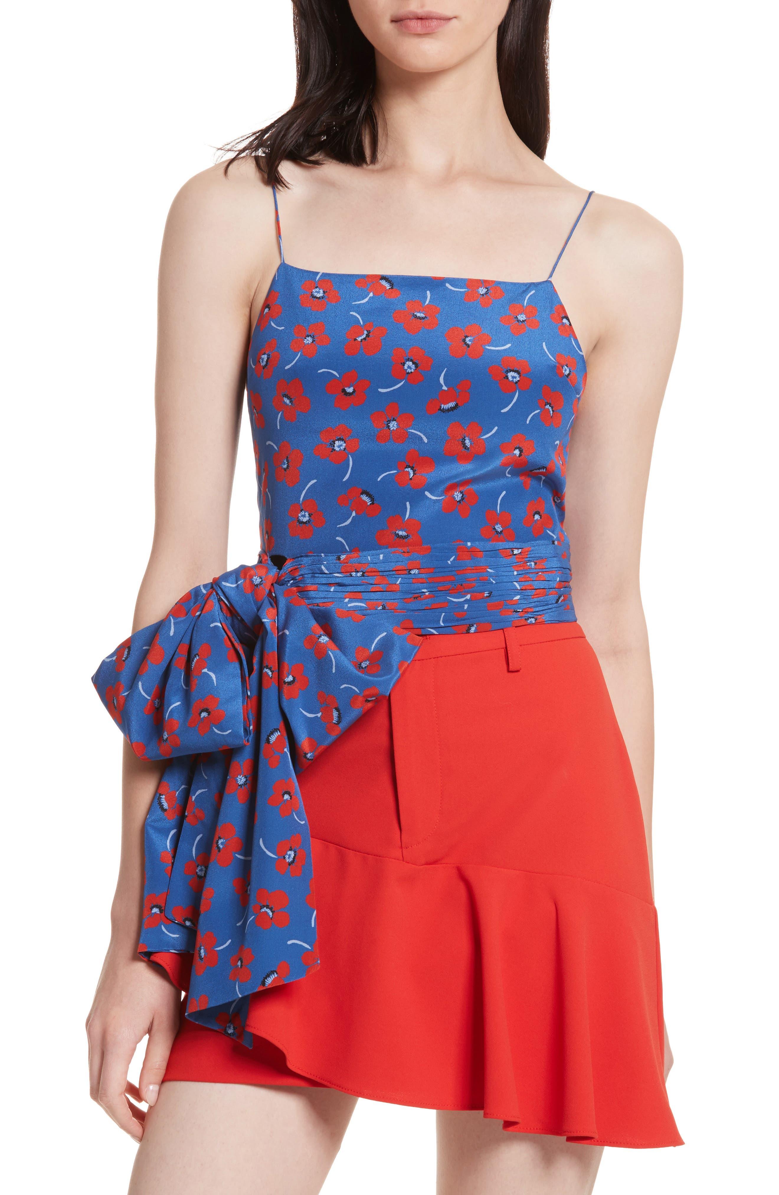 Diedra Tie Waist Silk Crop Top,                             Main thumbnail 1, color,                             Floating Floral/ Blue Quartz