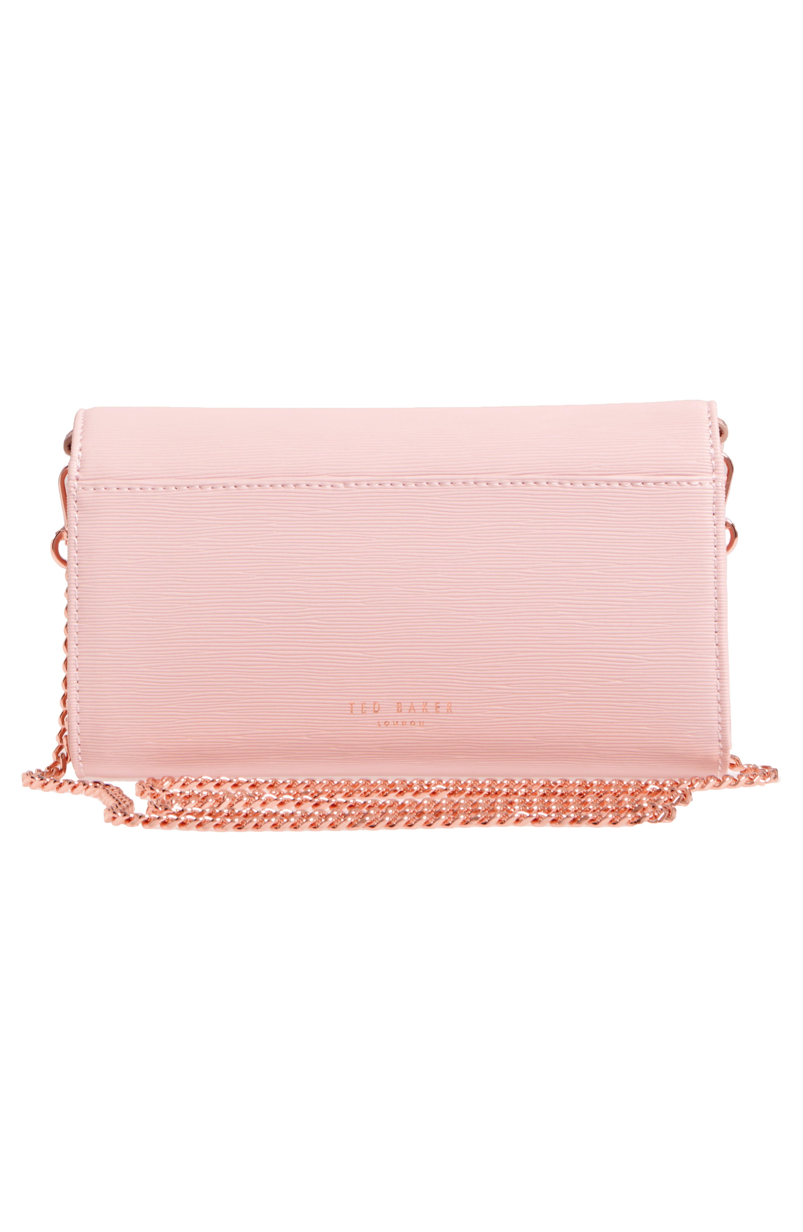 Melisia Bow Leather Mantinee Wallet on a Chain,                             Alternate thumbnail 3, color,                             Light Pink