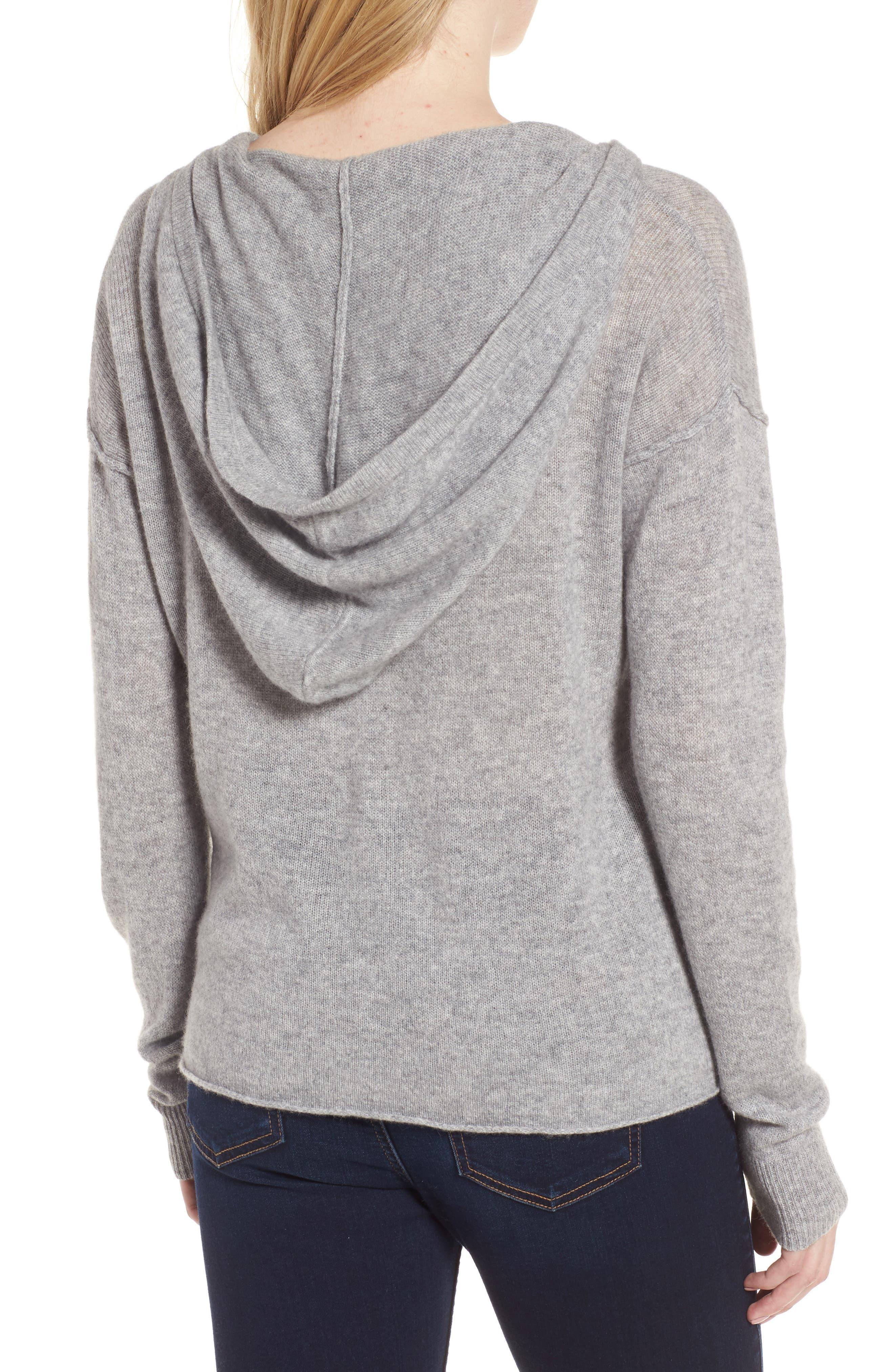Dakota Cashmere Hooded Sweater,                             Alternate thumbnail 2, color,                             Heather Grey