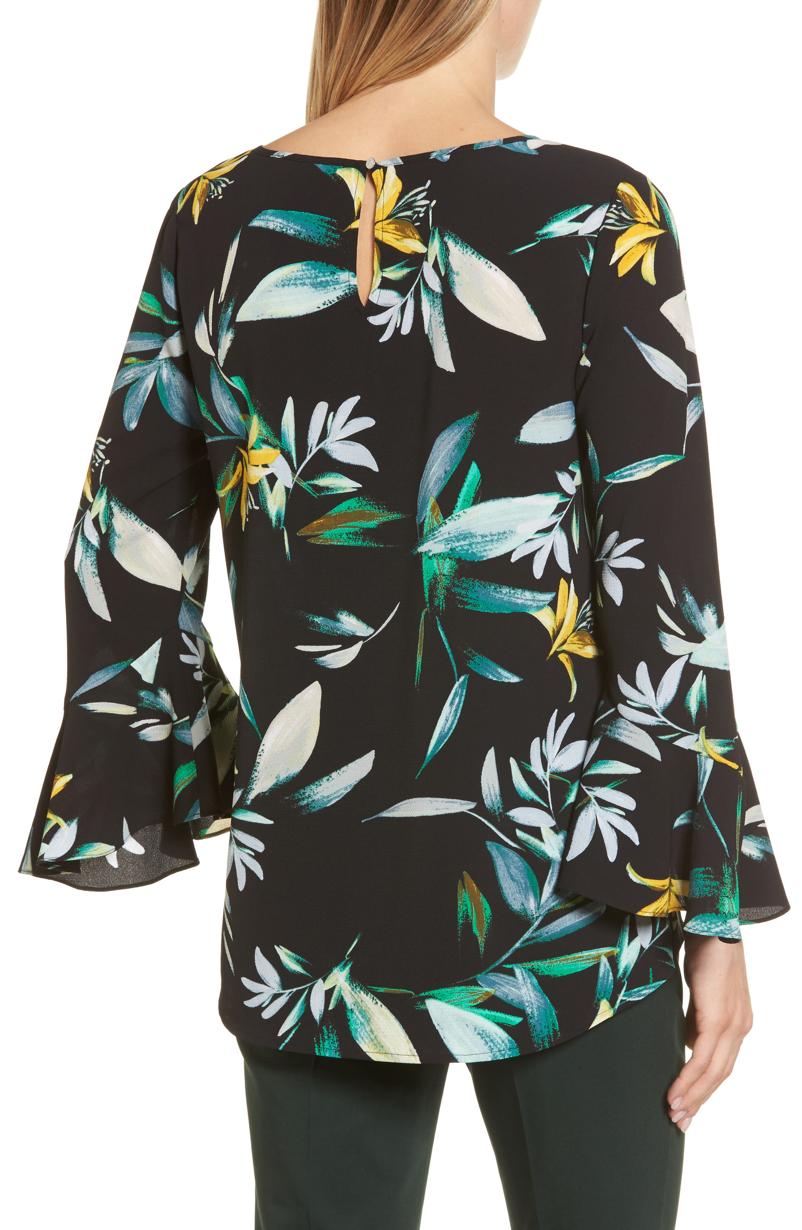 Floral Print Bell Sleeve Blouse,                             Alternate thumbnail 2, color,                             Rich Black