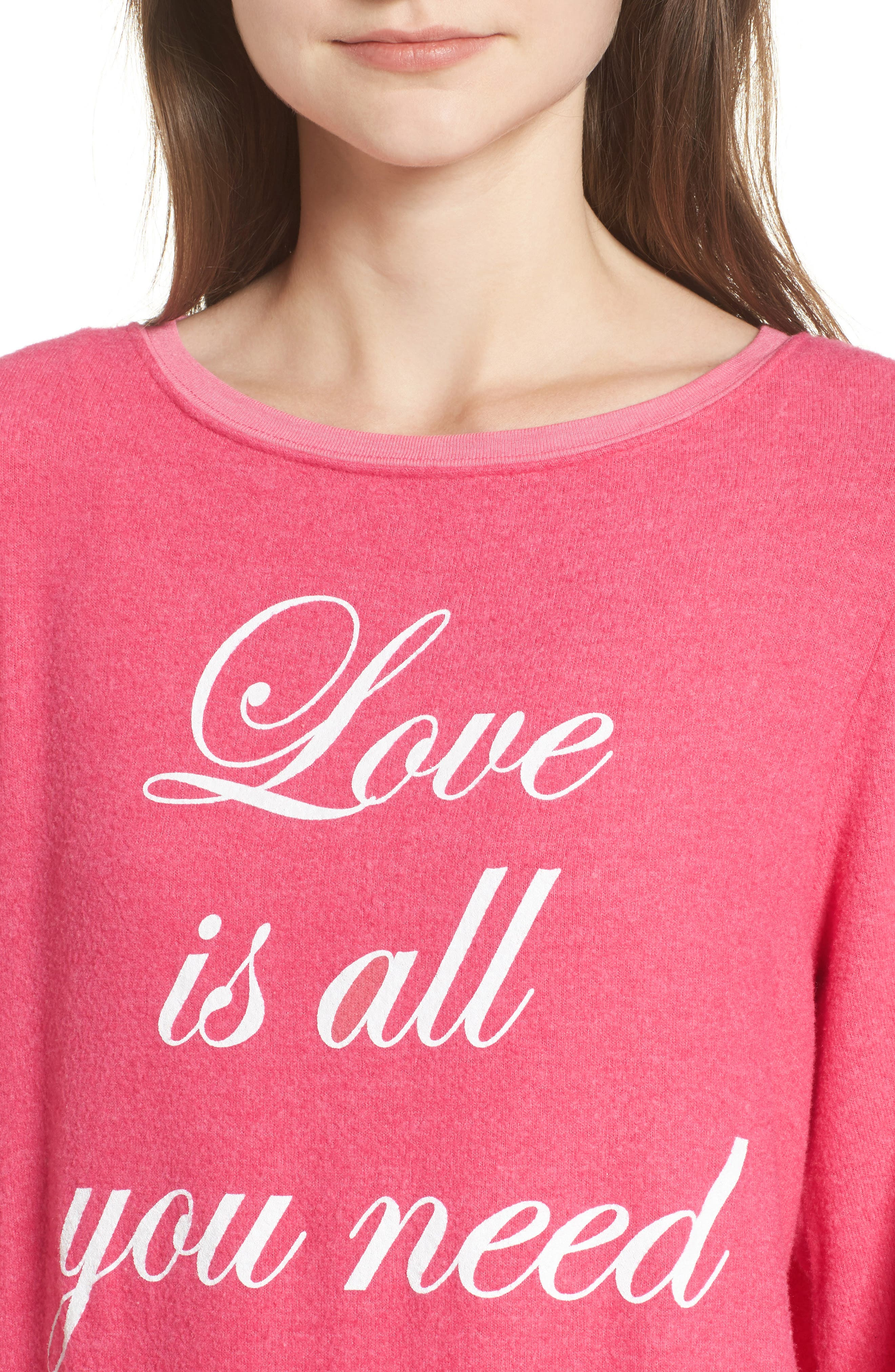 Love Is All Sweatshirt,                             Alternate thumbnail 4, color,                             Neon Pink