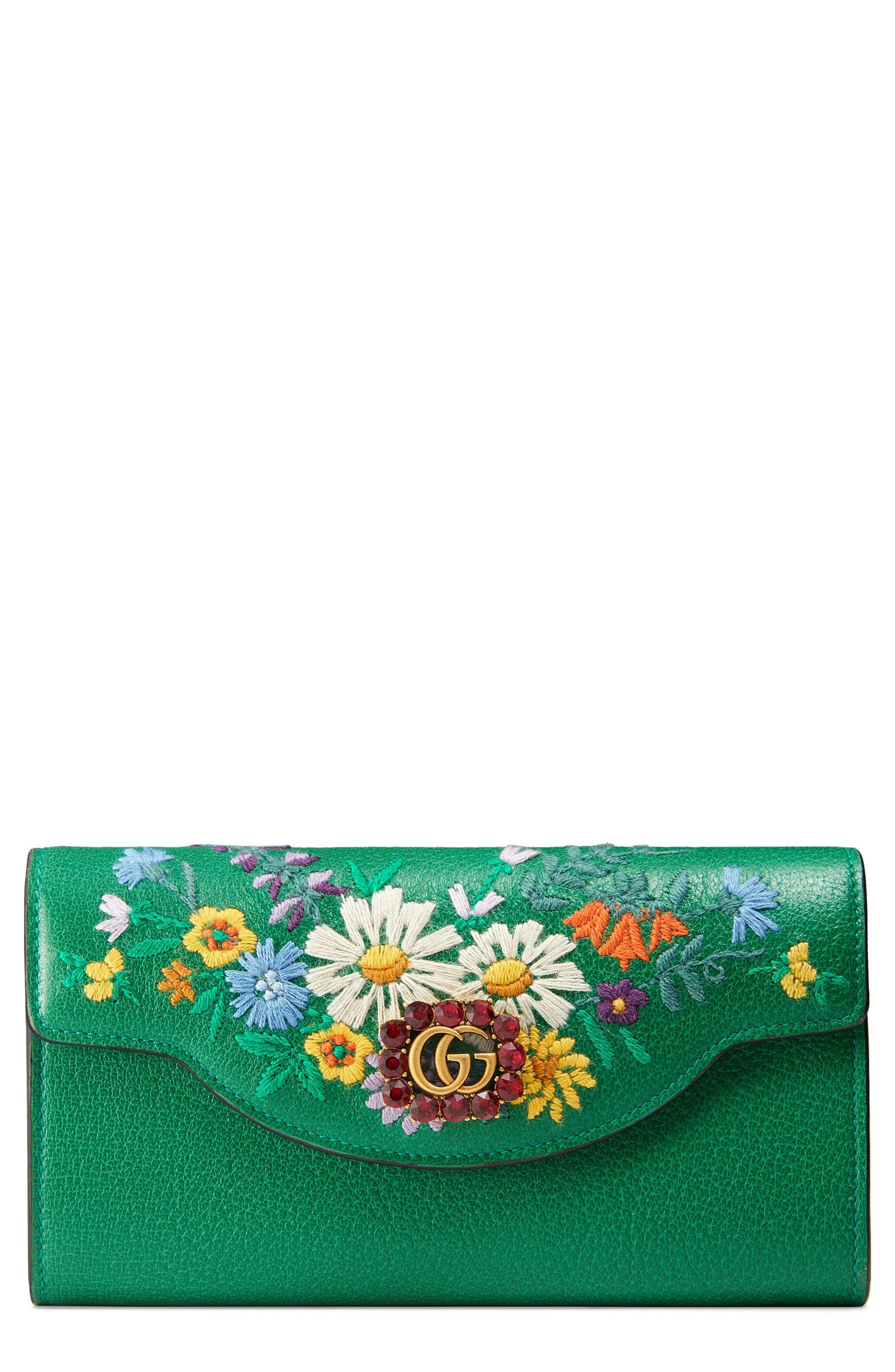 Gucci Ricamo Fiori Floral Embroidered Continental Wallet