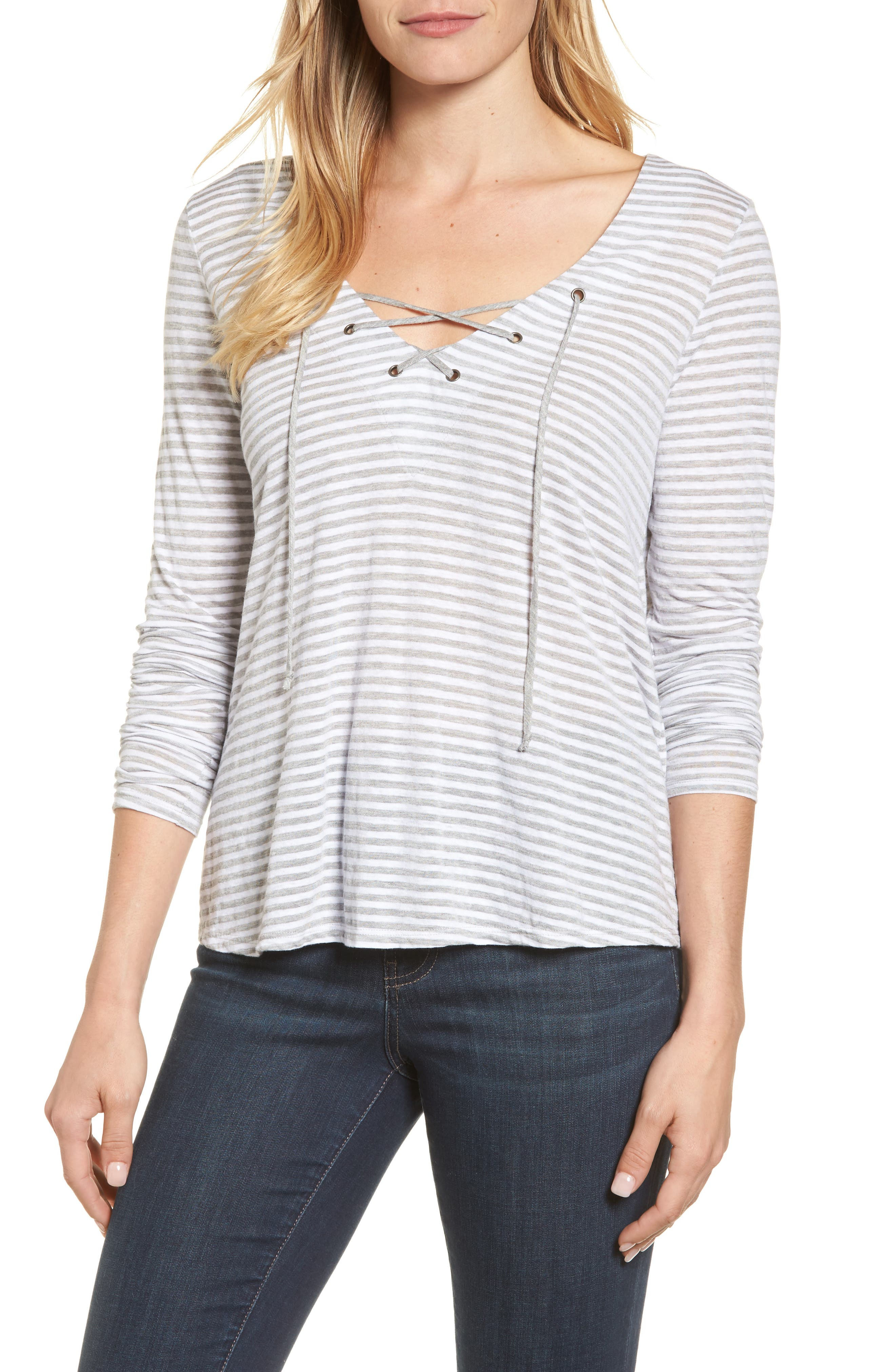 Lace-Up V-Neck Top,                         Main,                         color, Heather Grey
