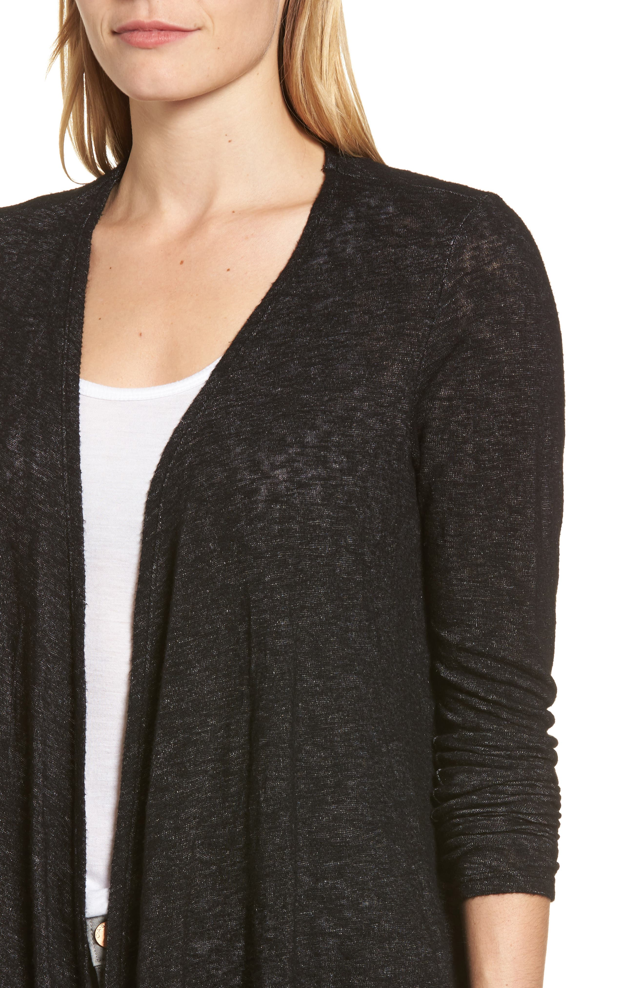 Textured Knit Ballet Tie Cardigan,                             Alternate thumbnail 4, color,                             Black