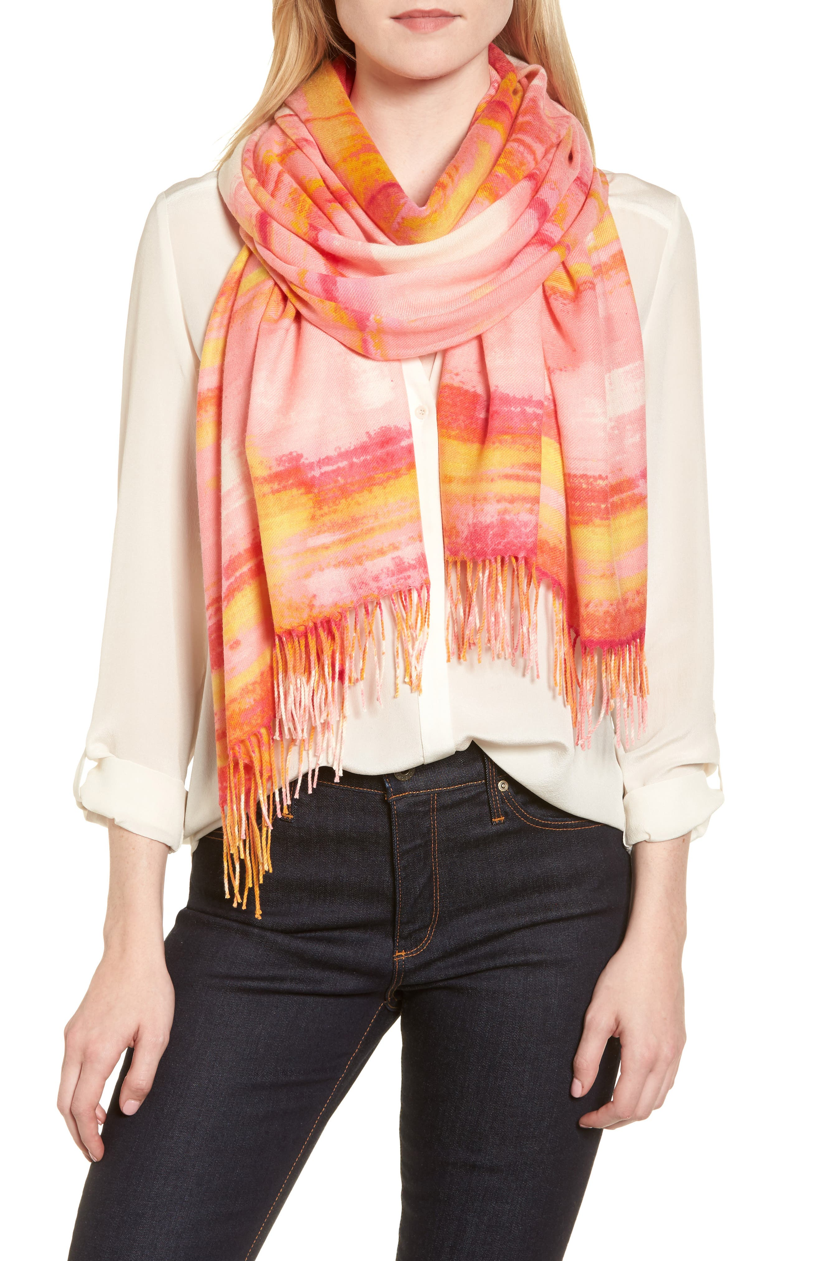 Tissue Print Wool & Cashmere Wrap Scarf,                         Main,                         color, Pink Rainwater Plaid Print