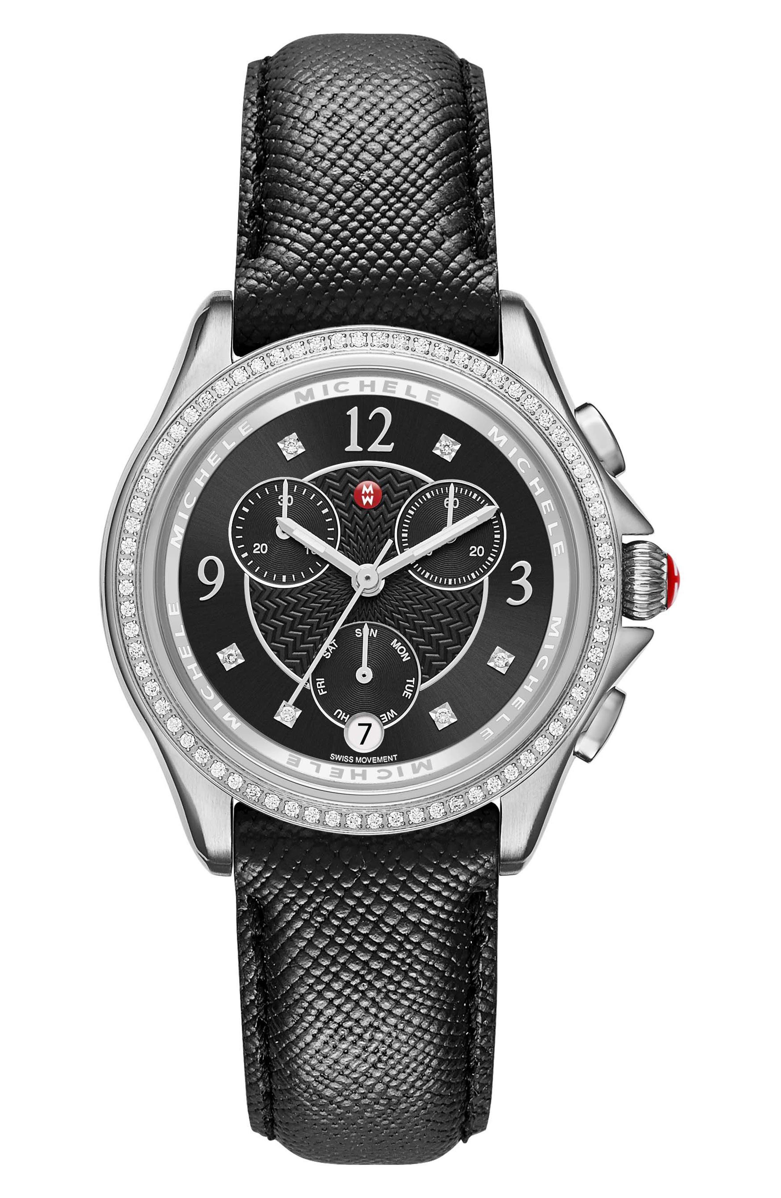 MICHELE Belmore Diamond Chronograph Leather Strap Watch, 37mm