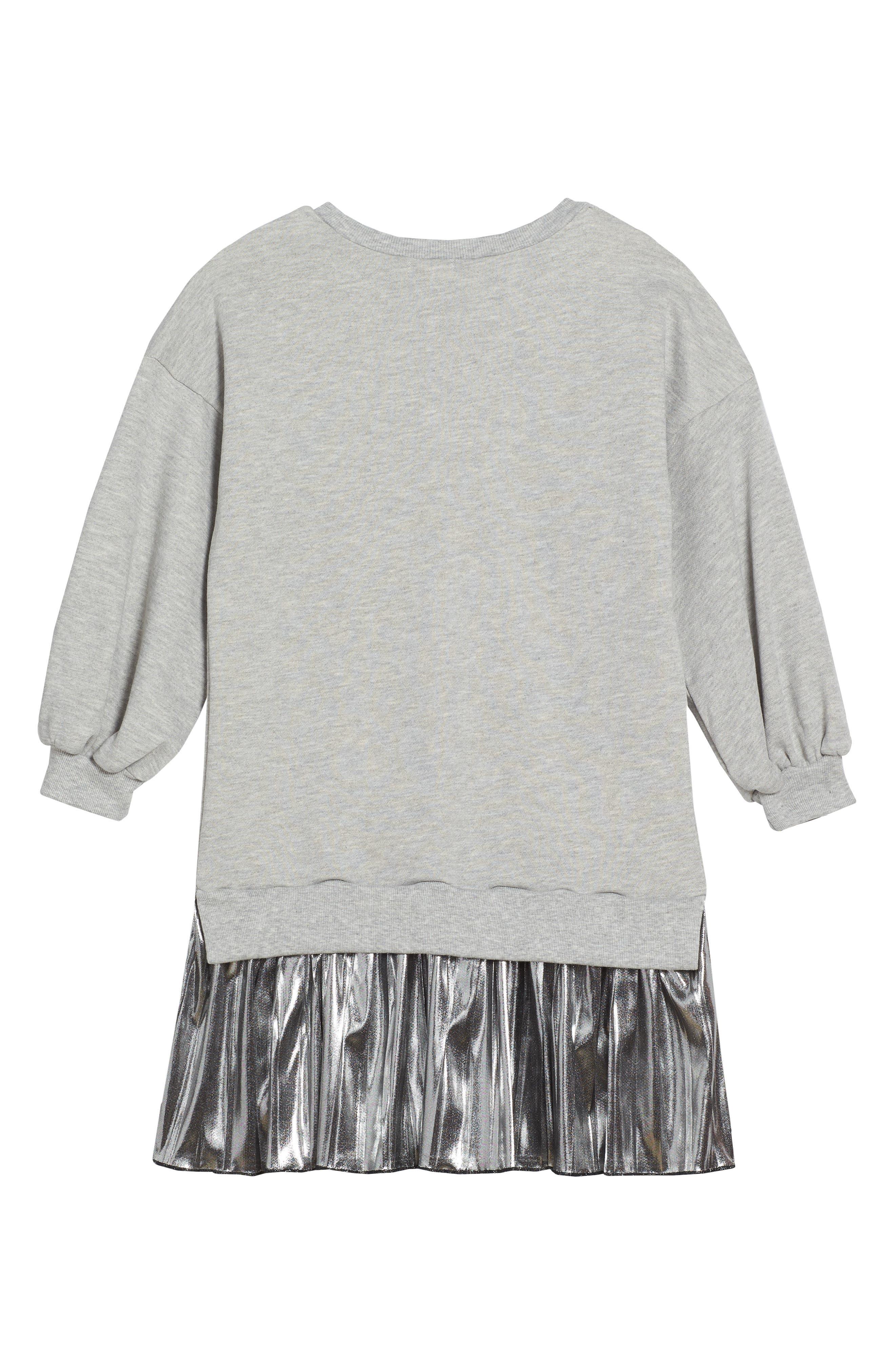 Metallic Sweatshirt Dress,                             Alternate thumbnail 2, color,                             Grey