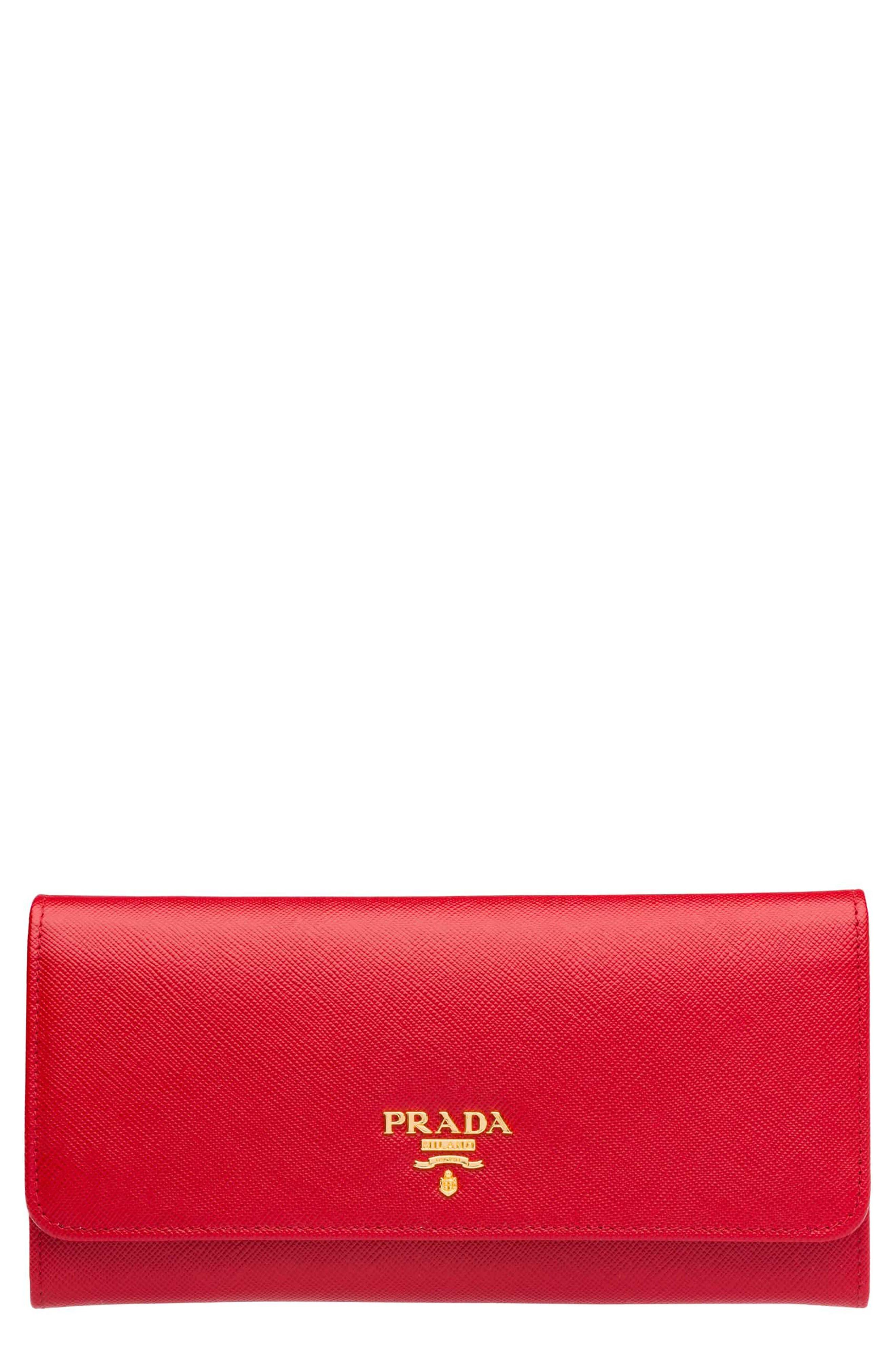 Prada Oro Saffiano Leather Continental Wallet
