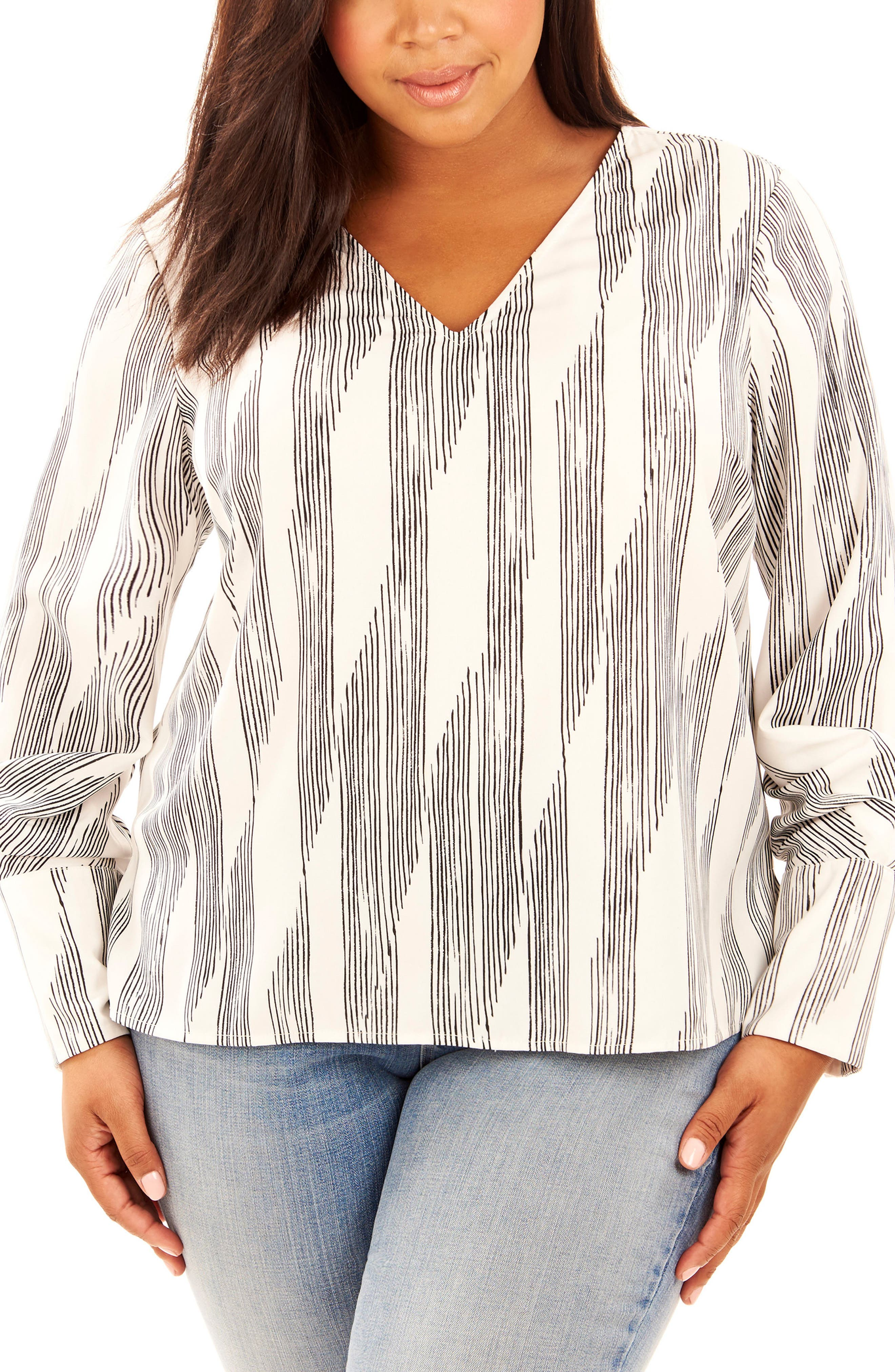 Print Pleated Sleeve Top,                             Main thumbnail 1, color,                             Pencil Lines