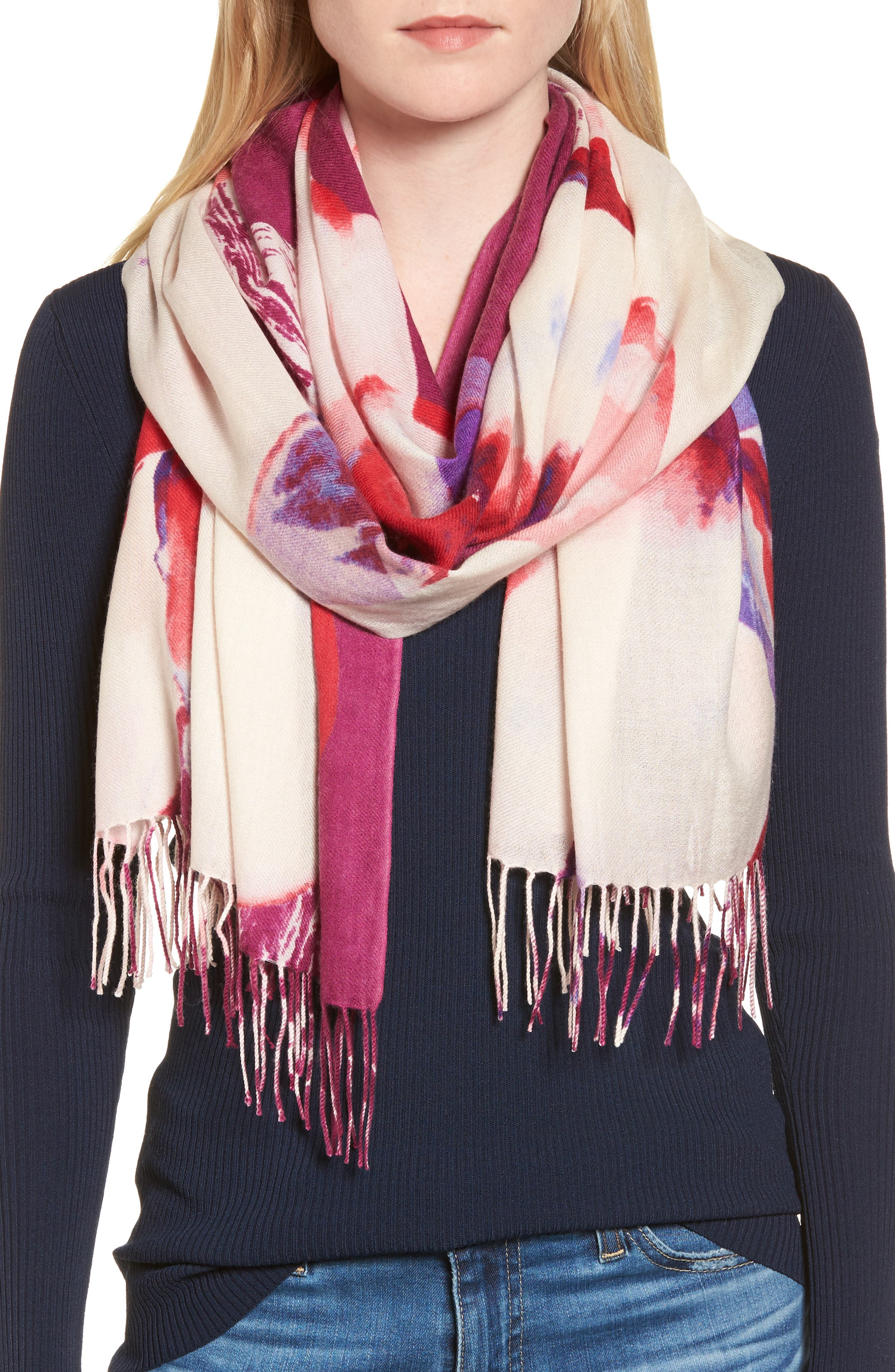 Alternate Image 1 Selected - Nordstrom Tissue Print Wool & Cashmere Wrap Scarf