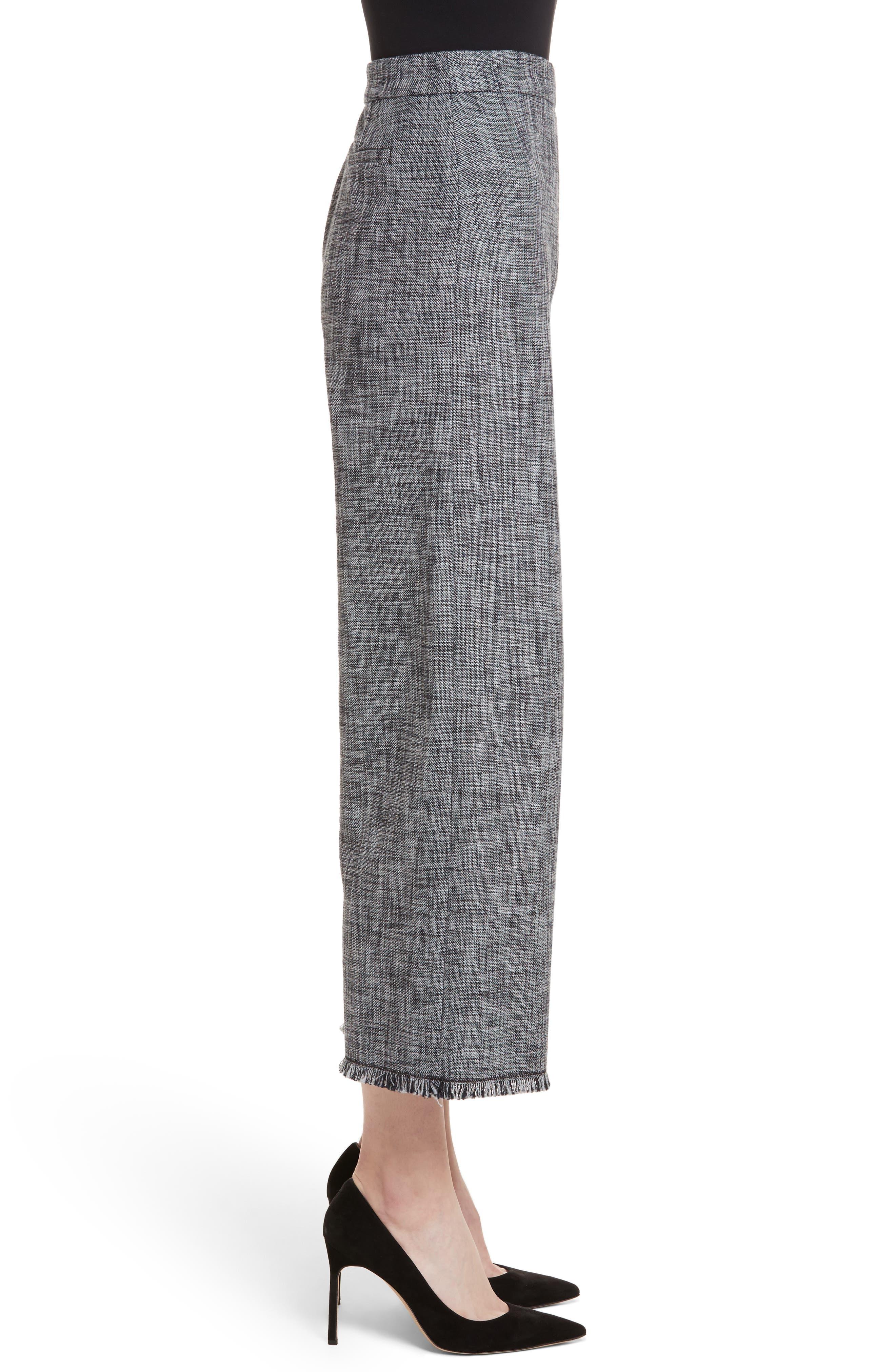 Slub Crop Suit Pants,                             Alternate thumbnail 3, color,                             Grey/ Black Combo