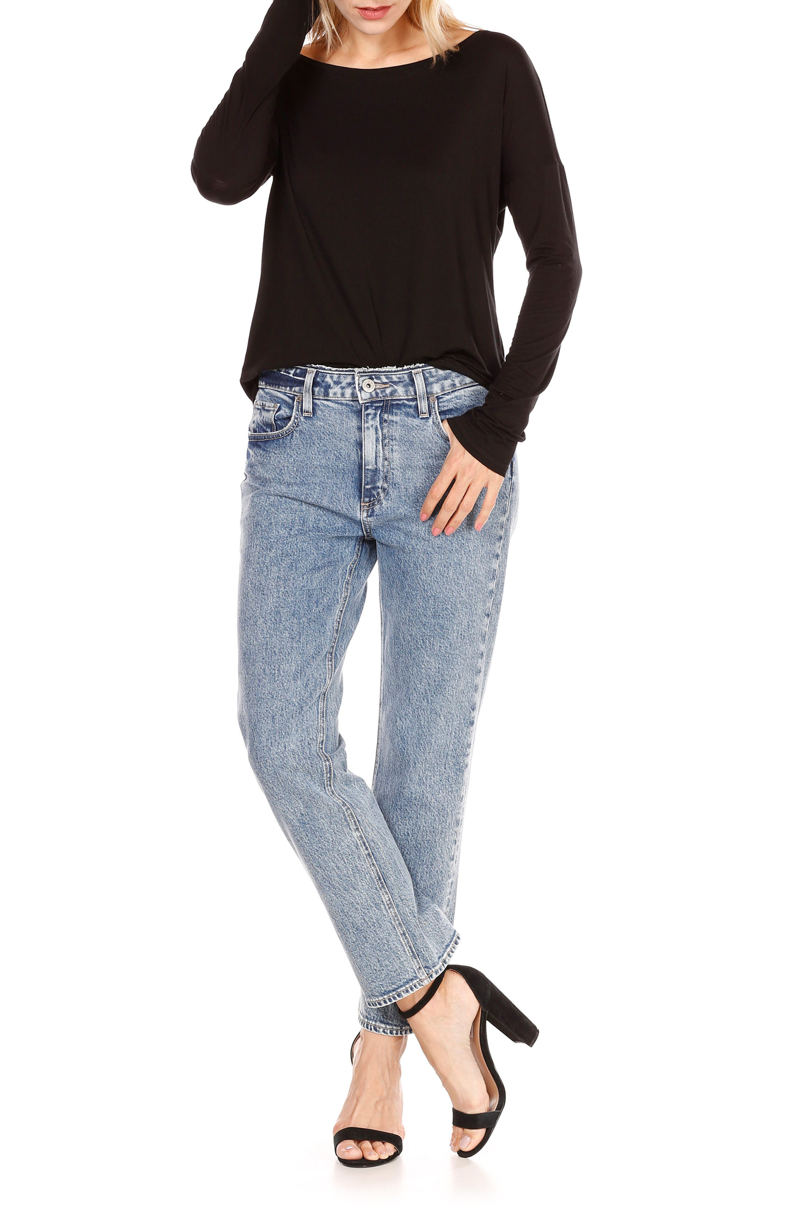 Transcend Vintage - Noella Crop Straight Leg Jeans,                             Alternate thumbnail 2, color,                             Blue