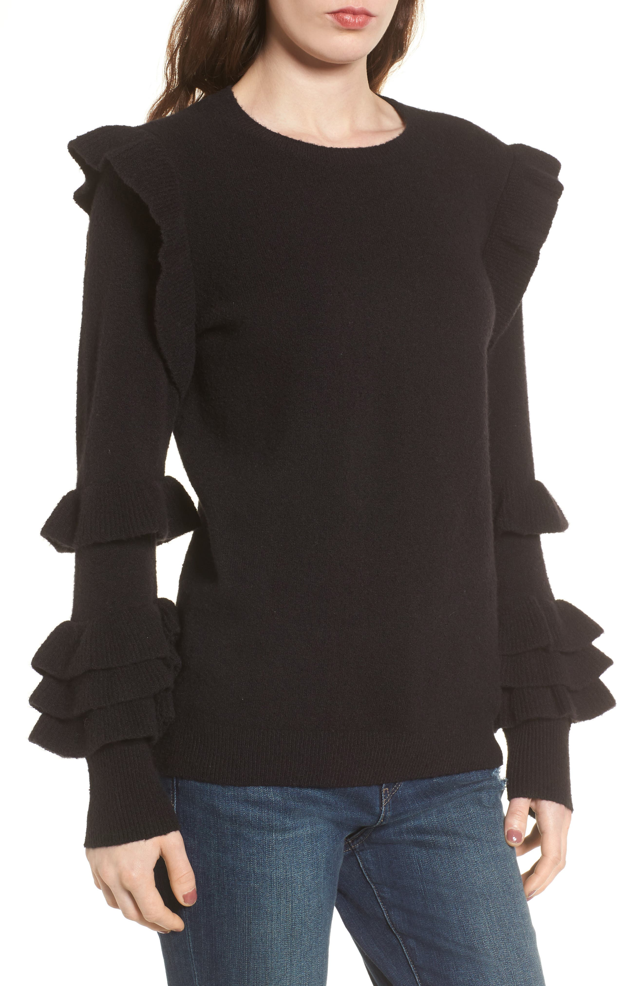Ruffle Sleeve Sweater,                         Main,                         color, Black
