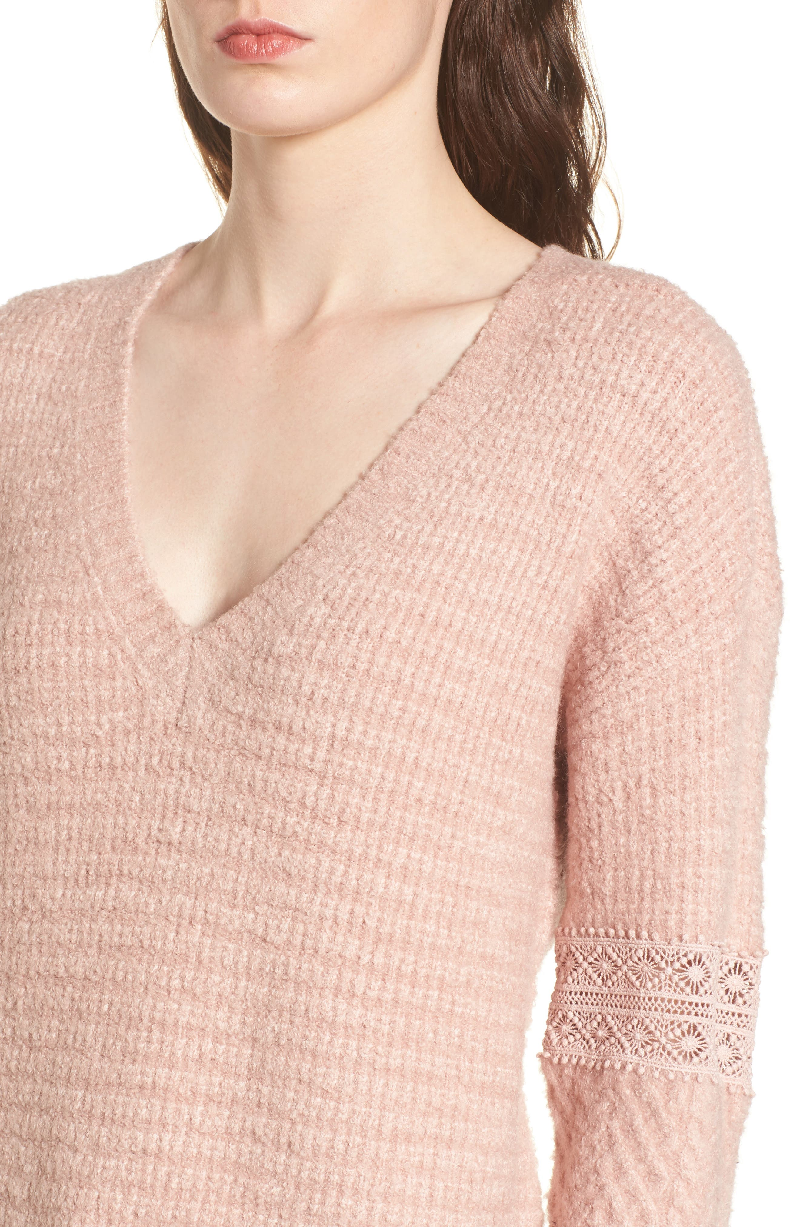 Lace Inset V-Neck Sweater,                             Alternate thumbnail 4, color,                             Pink Adobe