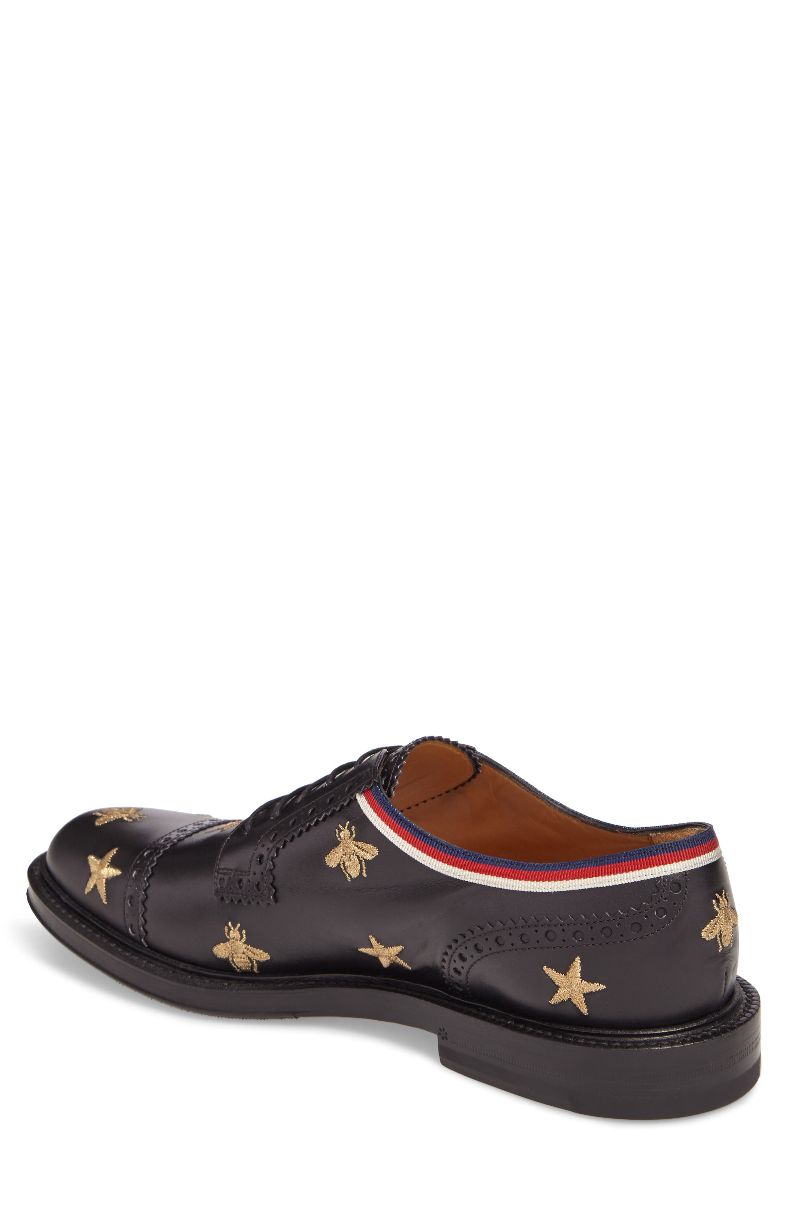 Embroidered Leather Brogue Shoe,                             Alternate thumbnail 2, color,                             Black