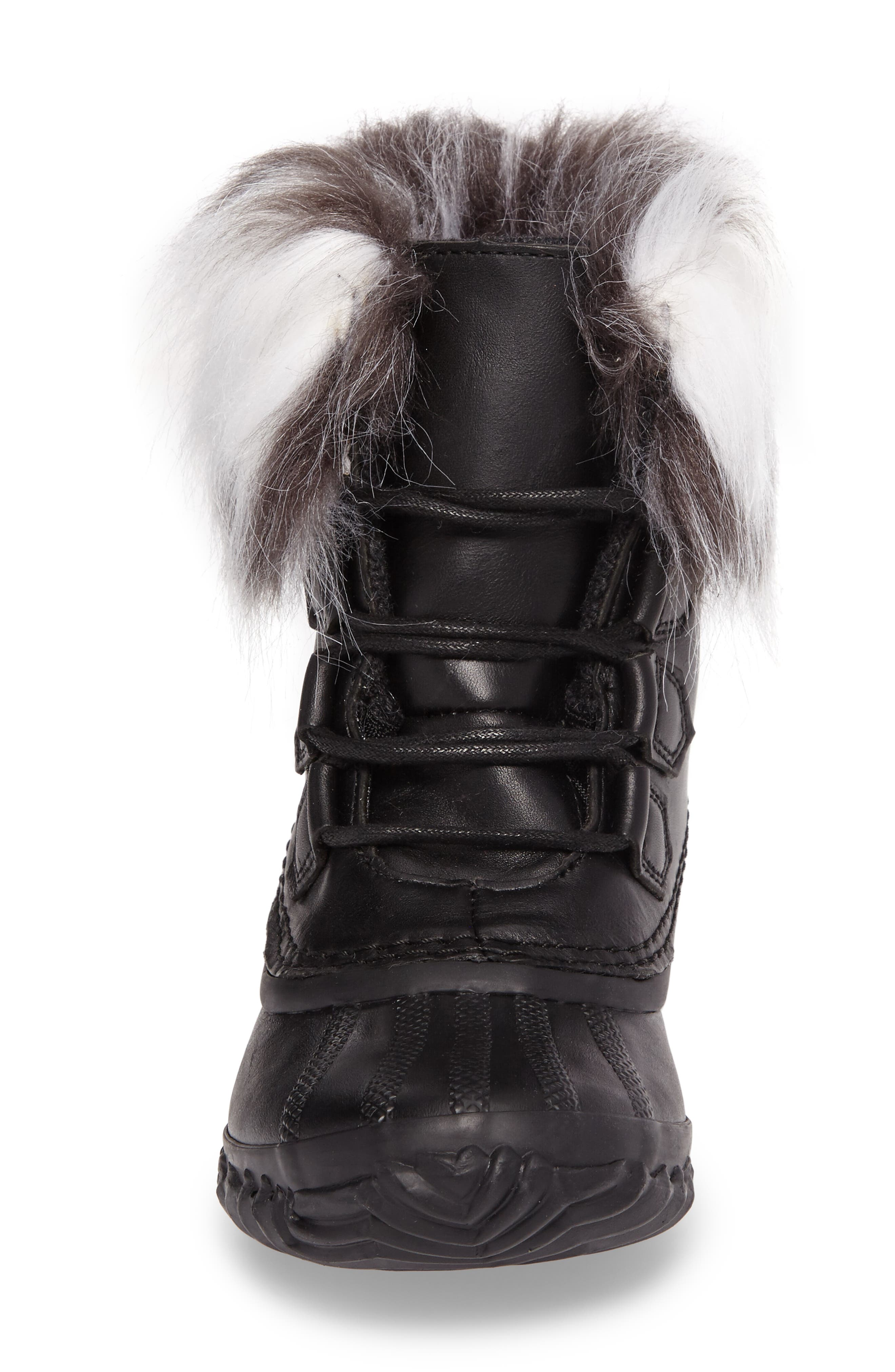 Out 'N About Waterproof Luxe Bootie,                             Alternate thumbnail 4, color,                             Black/ Sea Salt