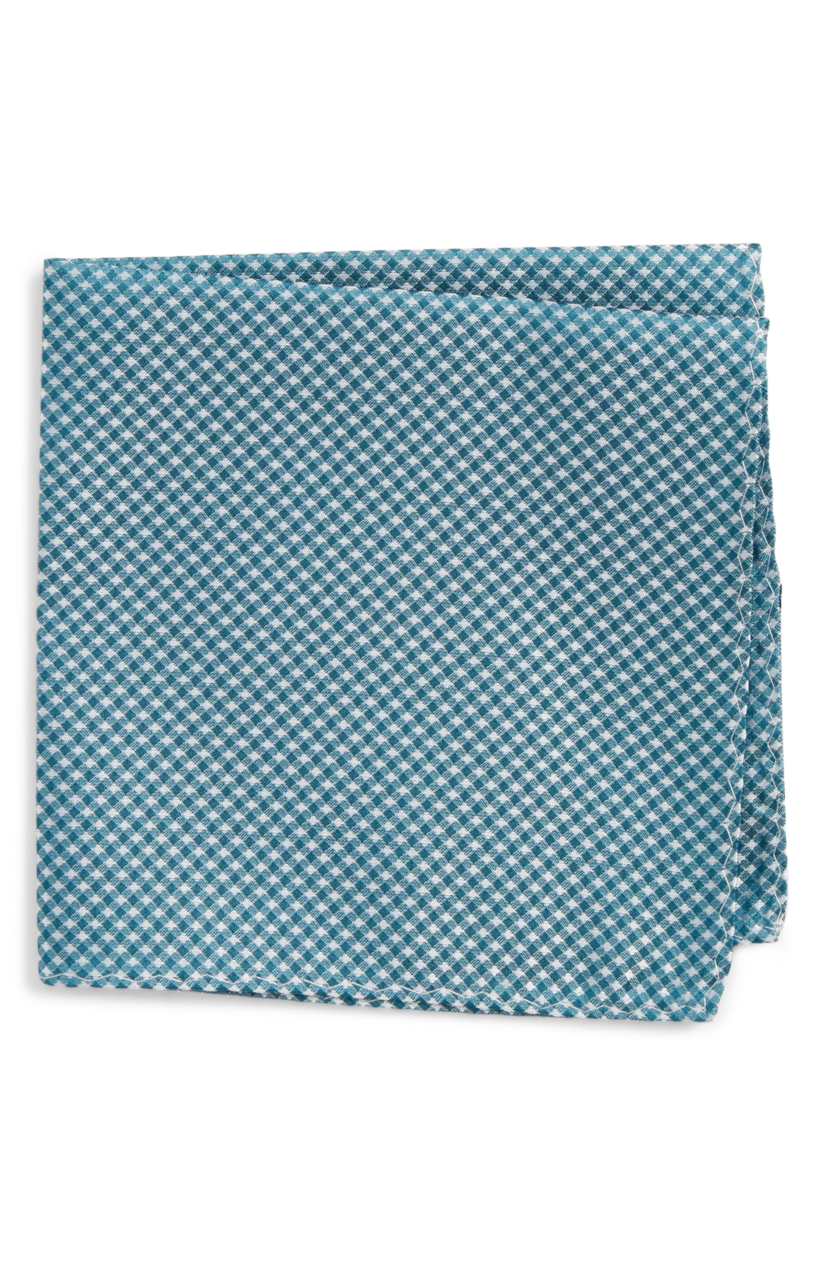 Check Silk Pocket Square,                         Main,                         color, Teal
