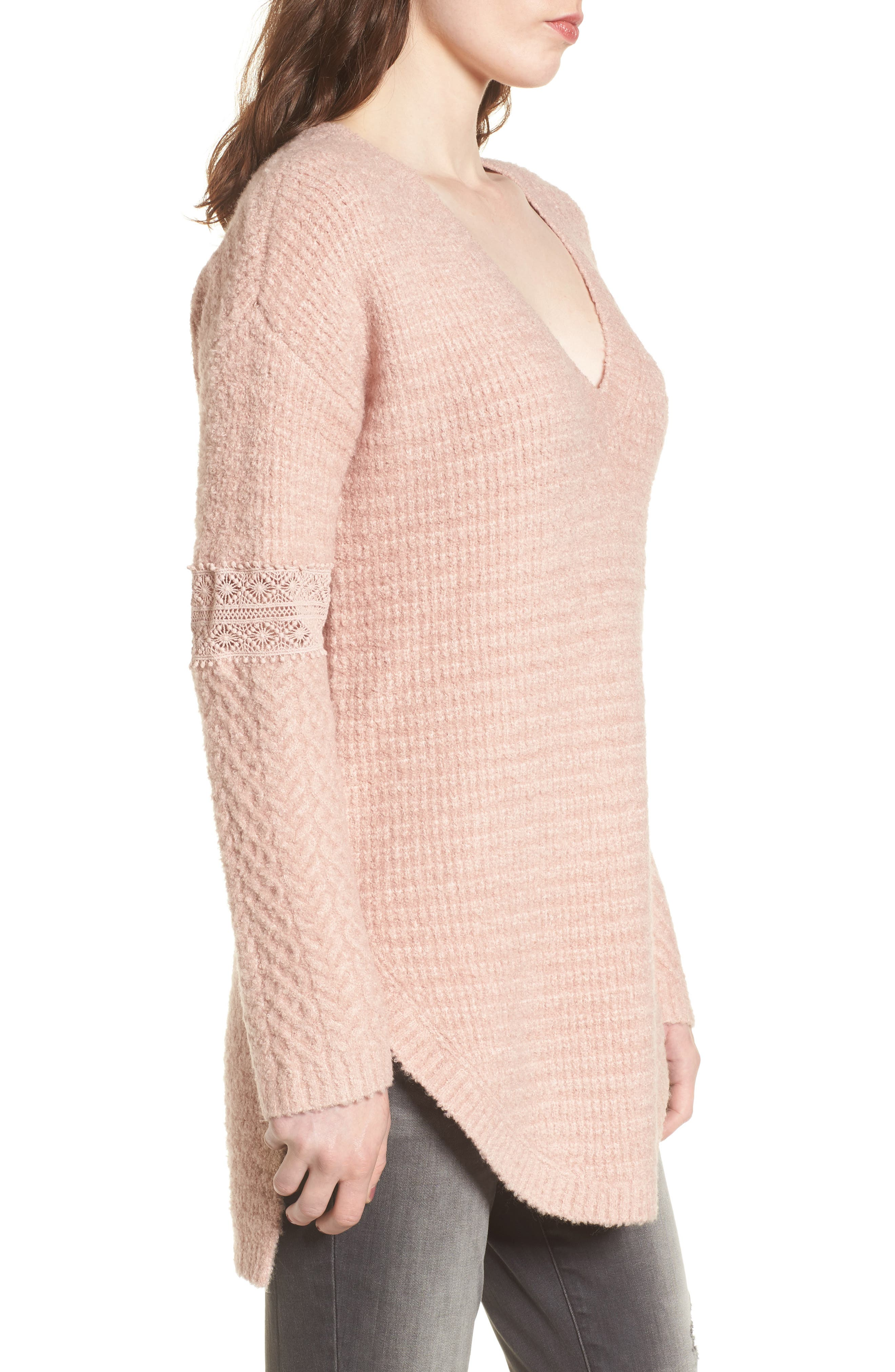 Lace Inset V-Neck Sweater,                             Alternate thumbnail 3, color,                             Pink Adobe