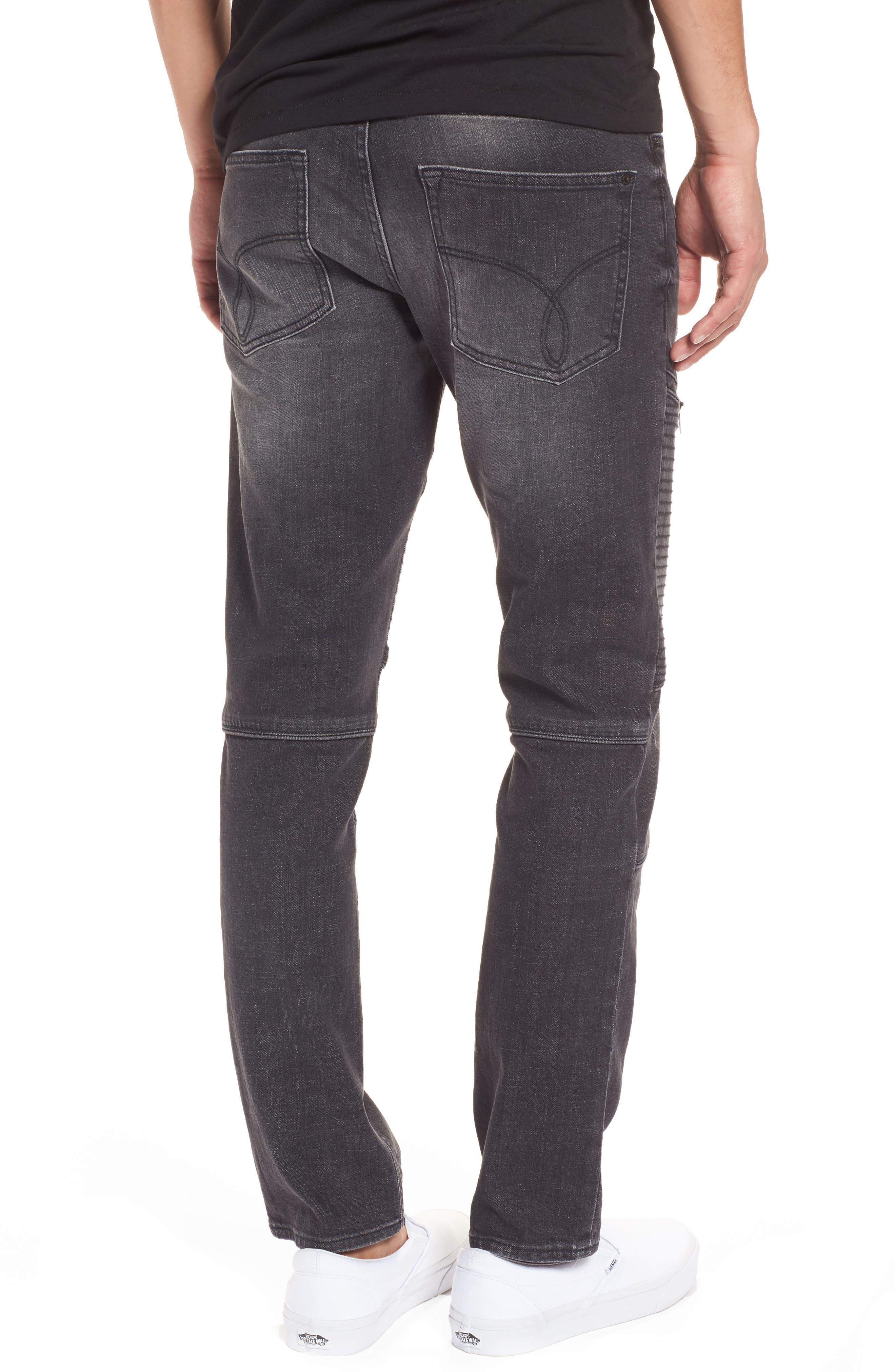 Biker Denim Jeans,                             Alternate thumbnail 2, color,                             Black