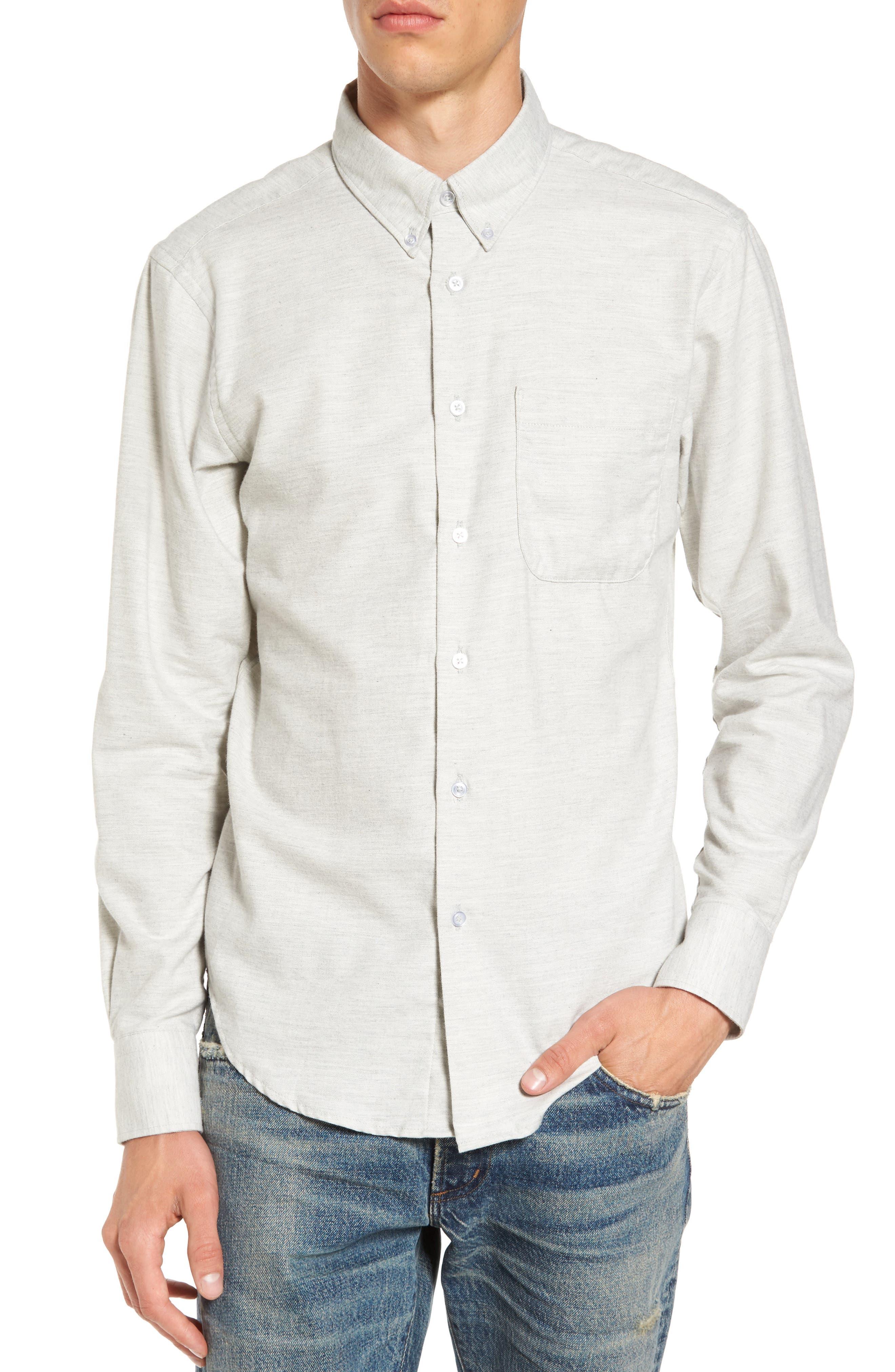Twill Woven Shirt,                         Main,                         color, Grey