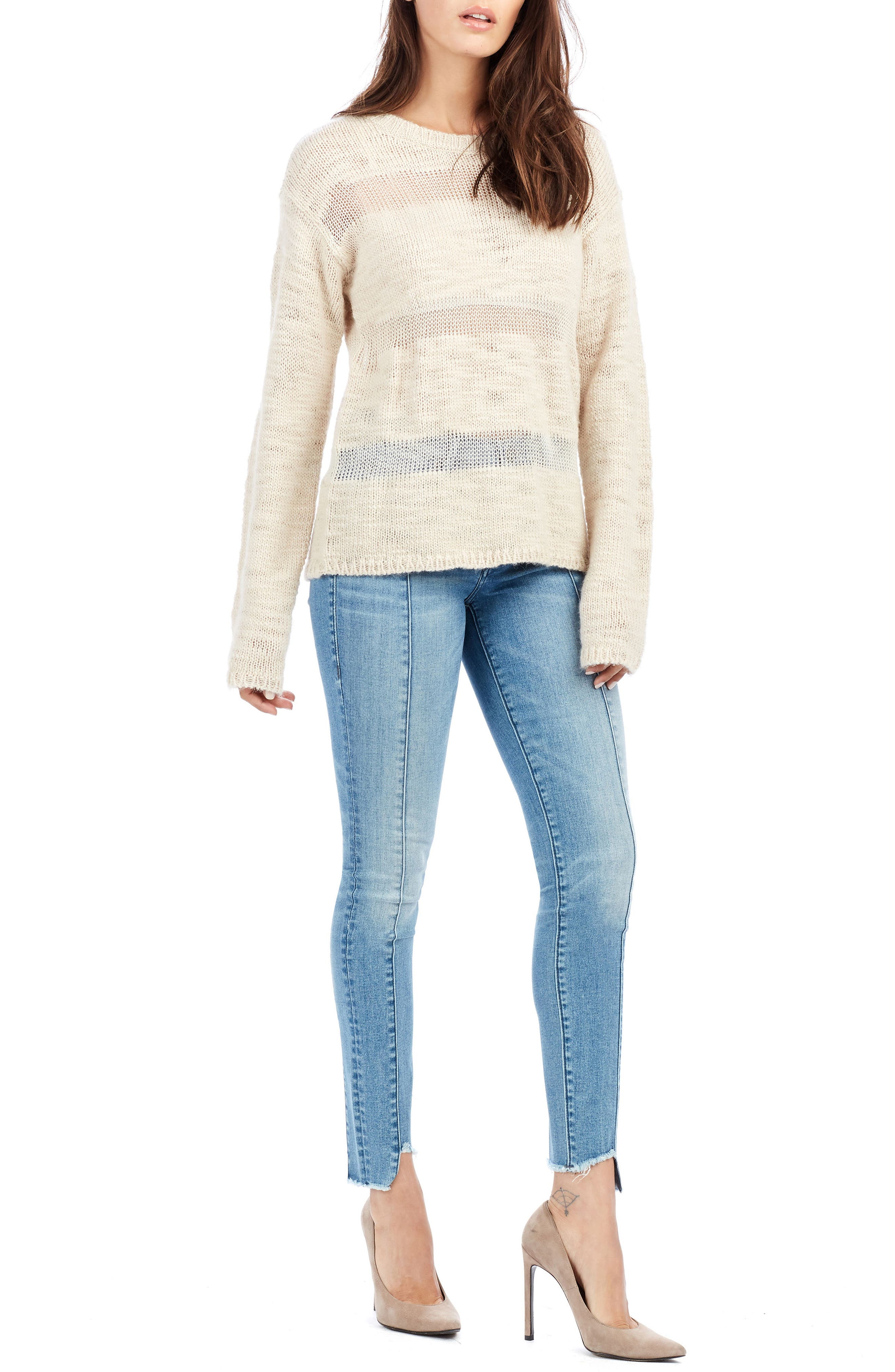 Stripe Sweater,                             Alternate thumbnail 3, color,                             Scuffed Beige