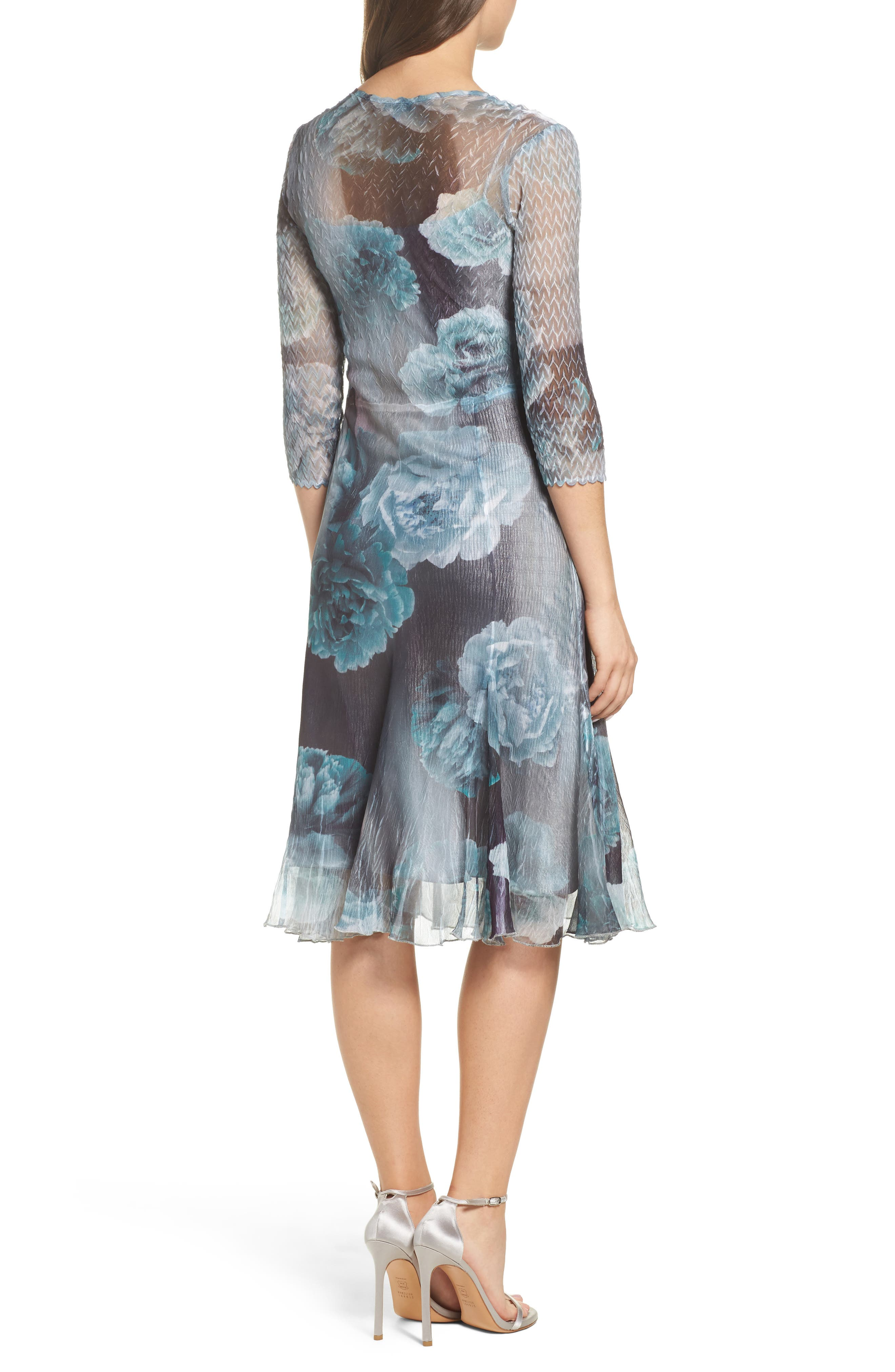 Floral A-Line Chiffon Dress,                             Alternate thumbnail 2, color,                             Jade Mist