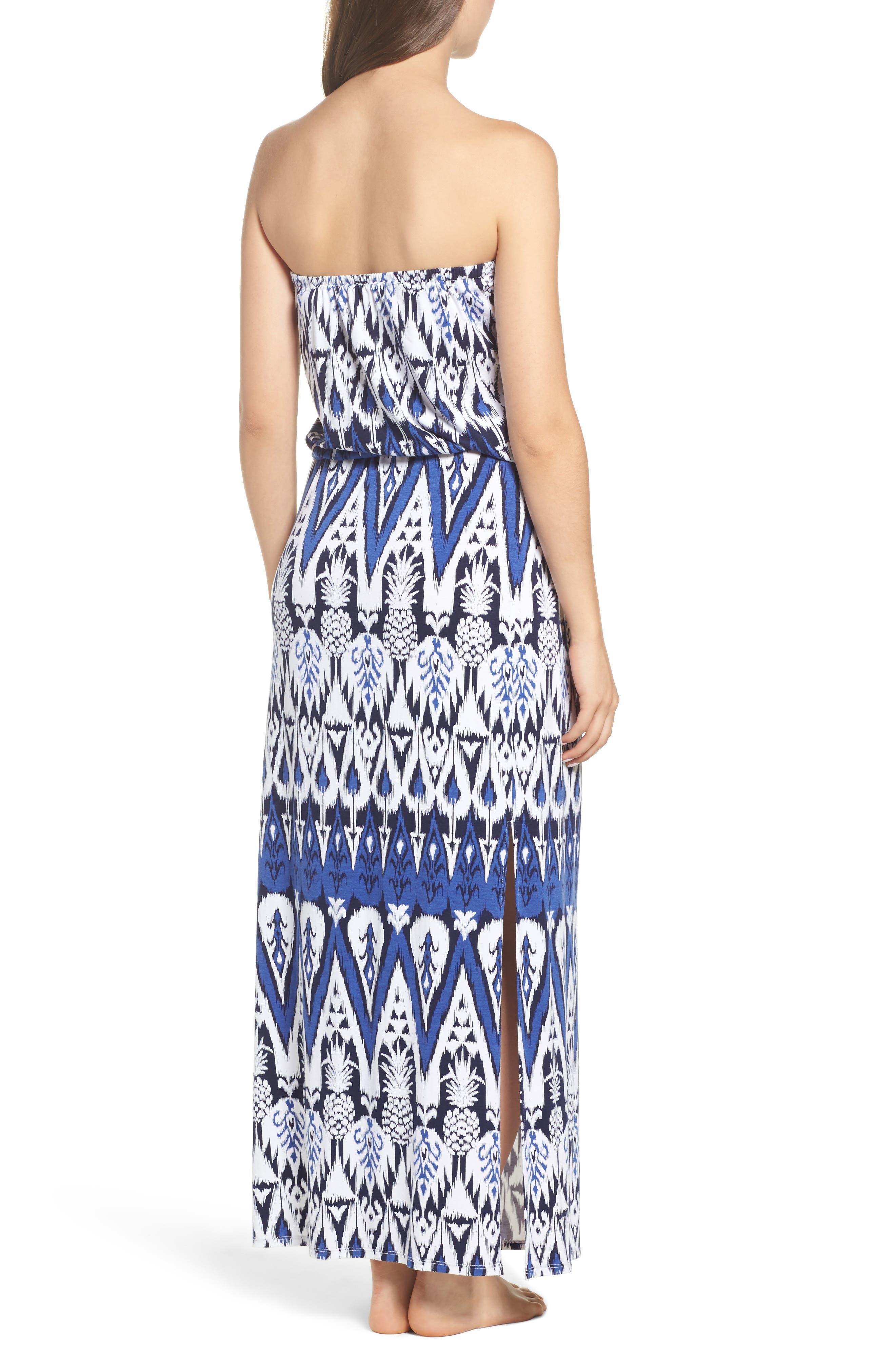 Pineapple Ikat Cover-Up Bandeau Maxi Dress,                             Alternate thumbnail 2, color,                             Dark Sanibel
